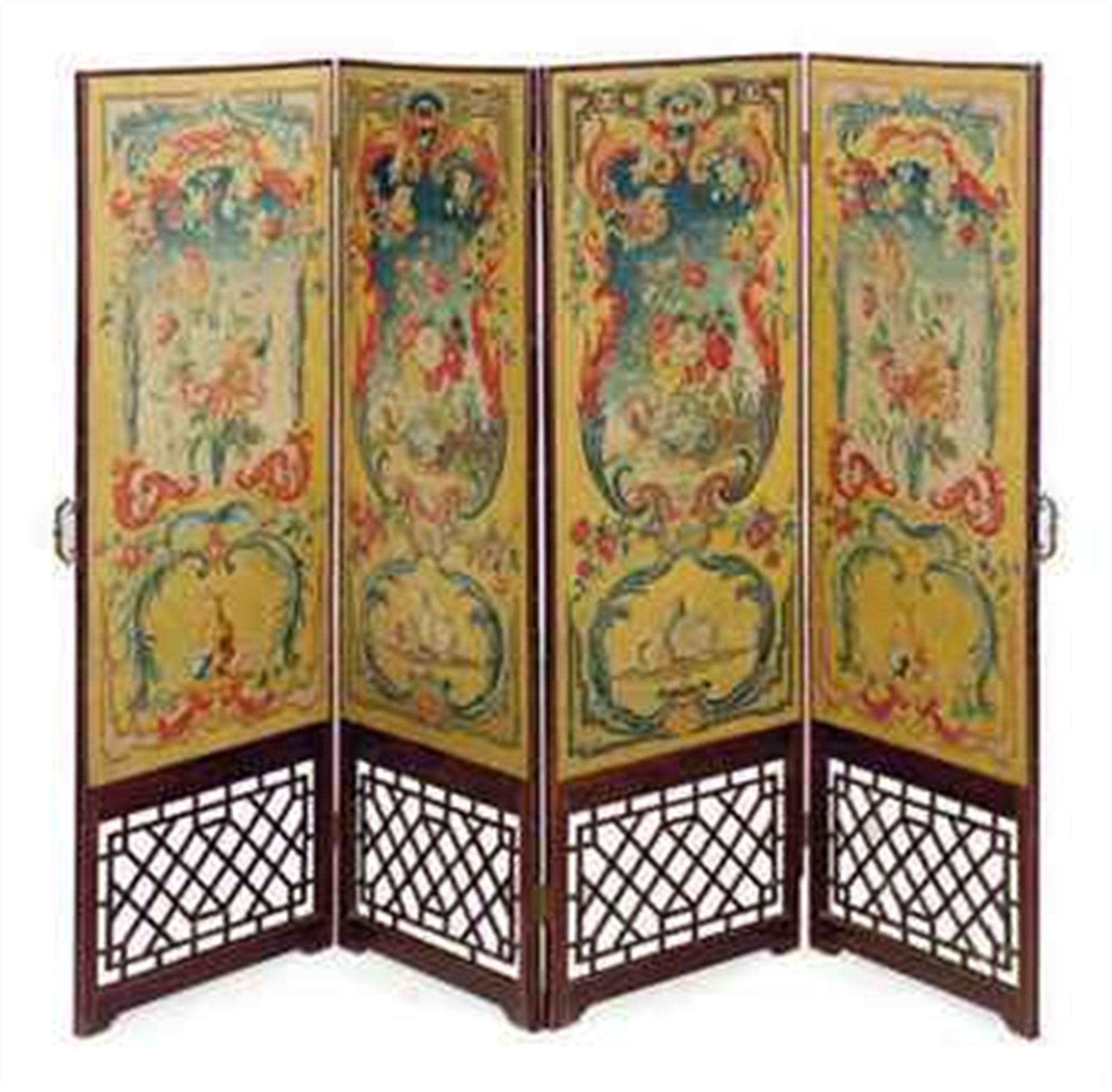 FRENCH NEEDLEWORK AND MAHOGANY FOUR PANEL DRESSING SCREEN