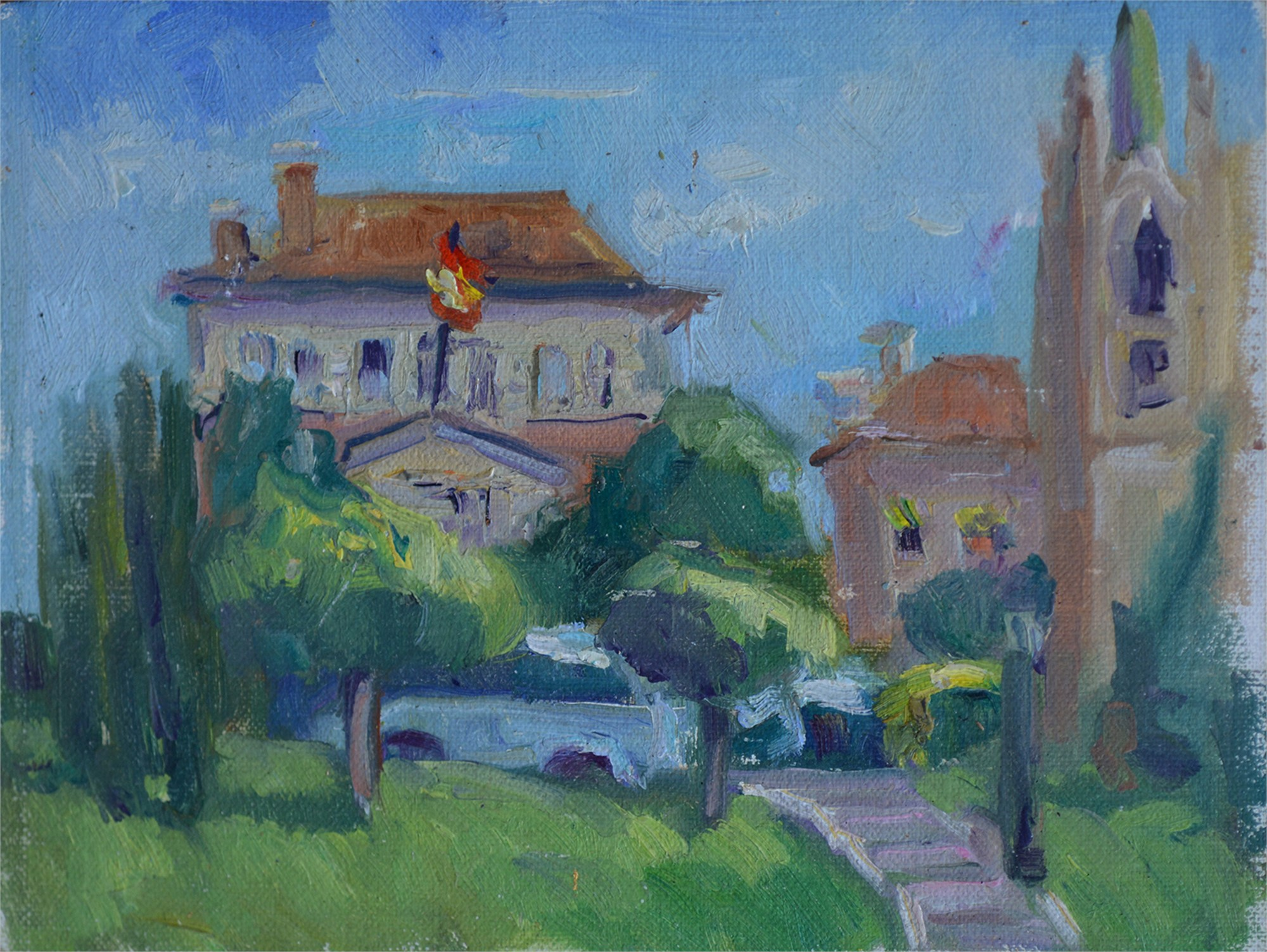 Building near the Prado Museum by Karen Hewitt Hagan