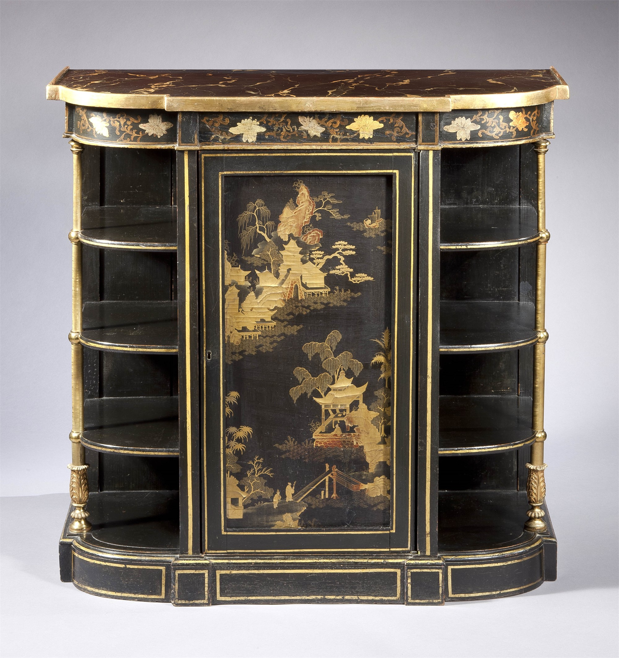 REGENCY LACQUER PANEL INSET AND PAINT DECORATED SIDE CABINET