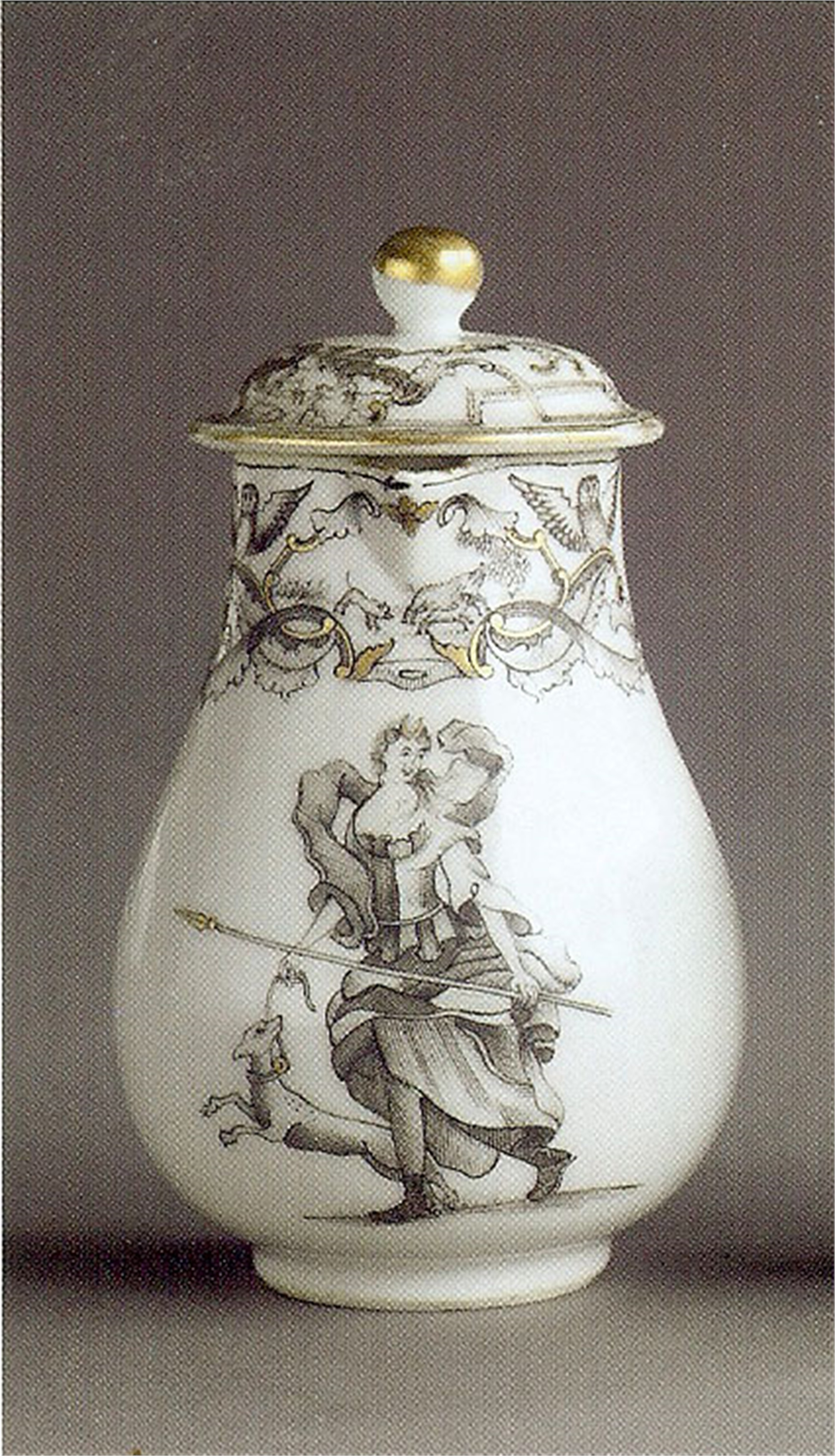 GRISAILLE MILK JUG WITH DIANA AND HER DOG