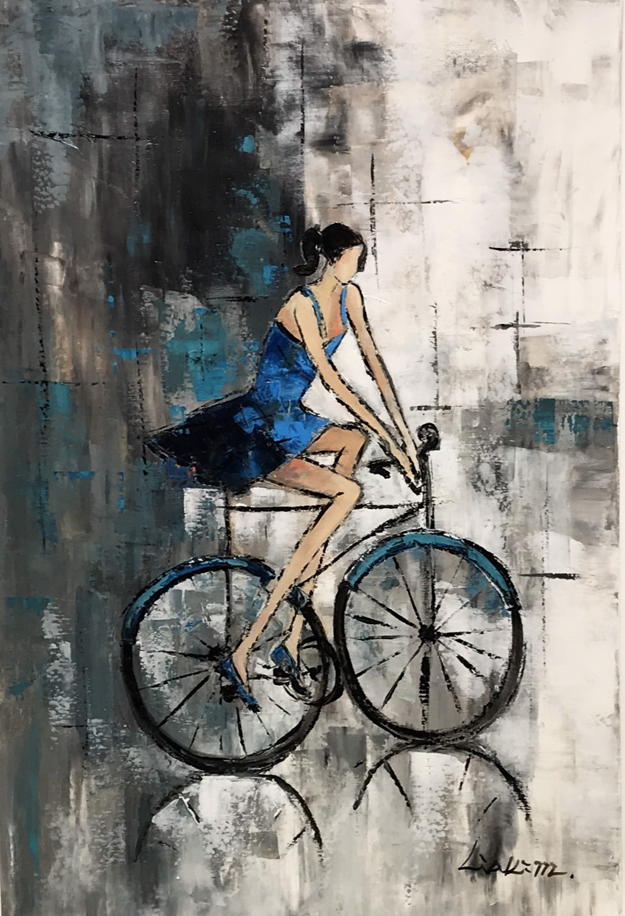 CYCLIST IN PIGTAILS by LIA KIM