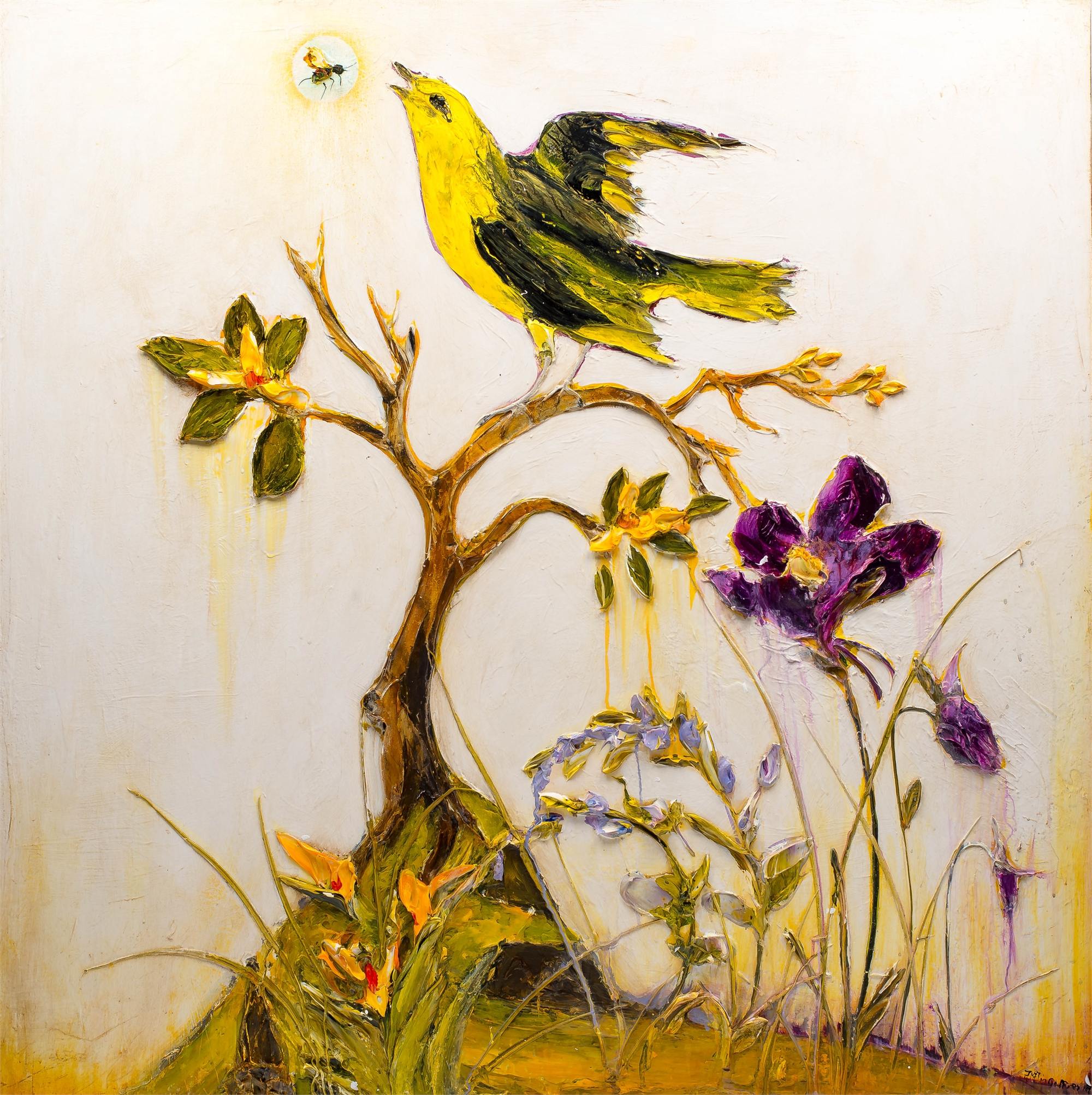 WILDFLOWERS, BIRD AND BEE by JUSTIN GAFFREY