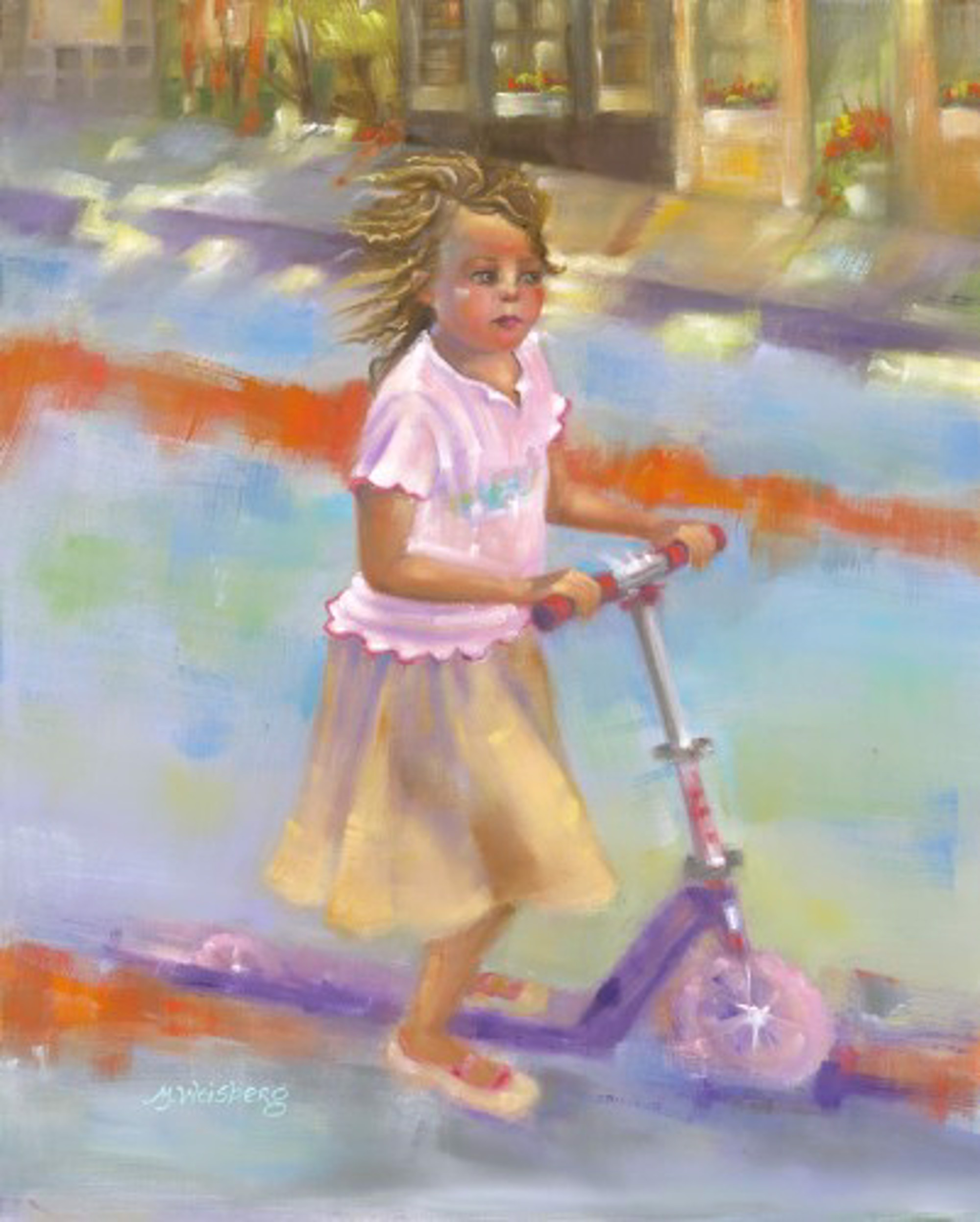 LITTLE GIRL ON SCOOTER by WEISBERG
