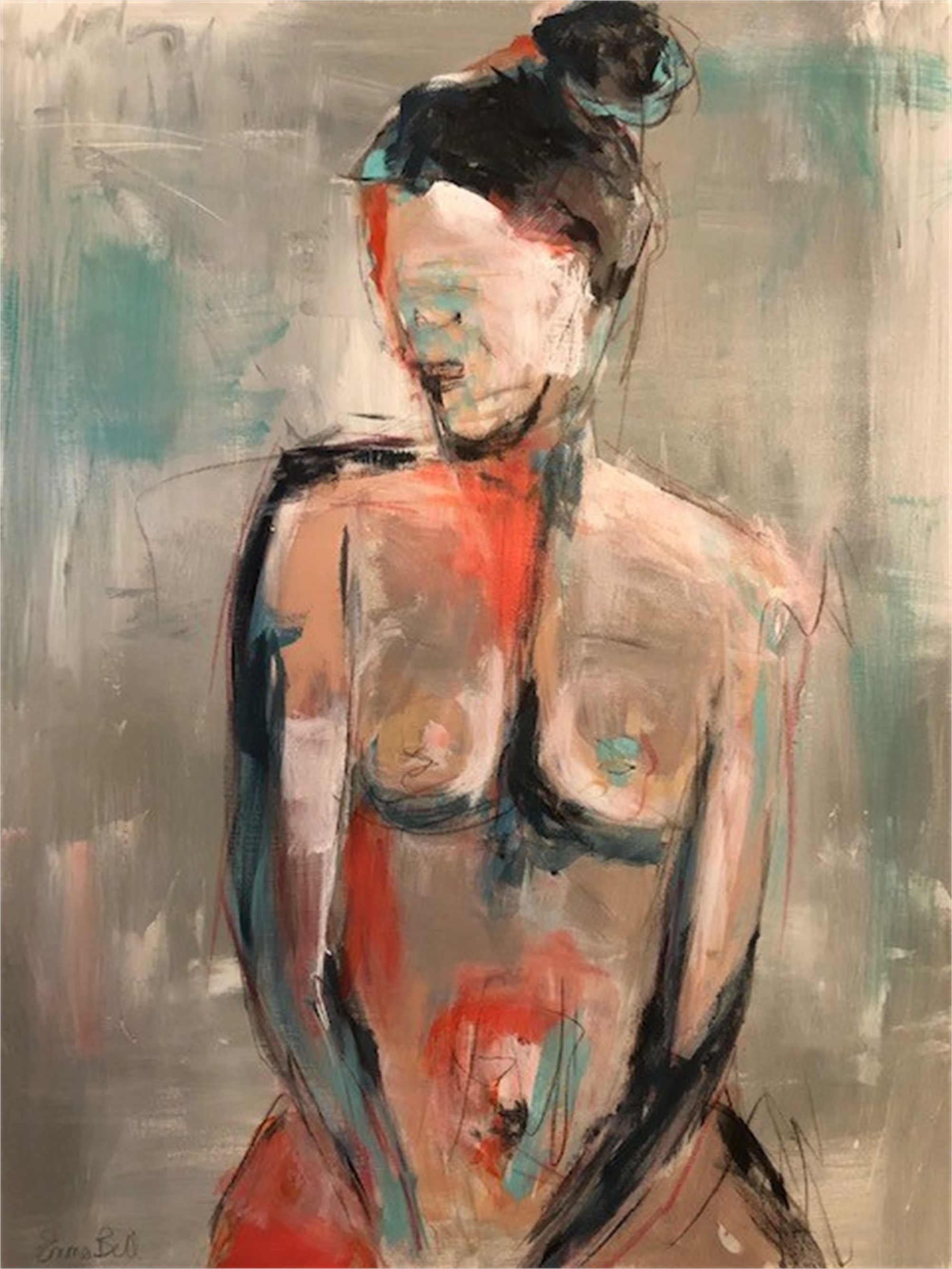 Aqua & Coral Nude 1 by Emma Bell