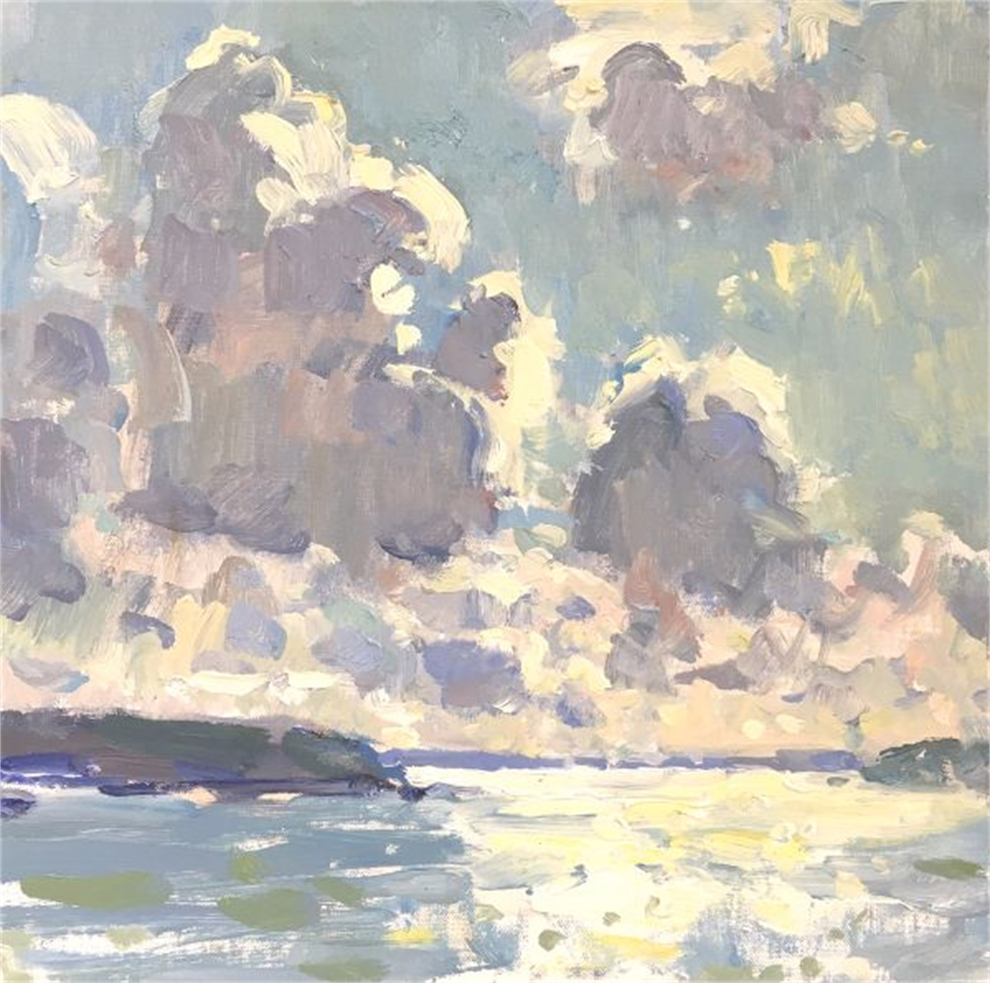 Clouds Over the Shimmering Water by Richard Oversmith