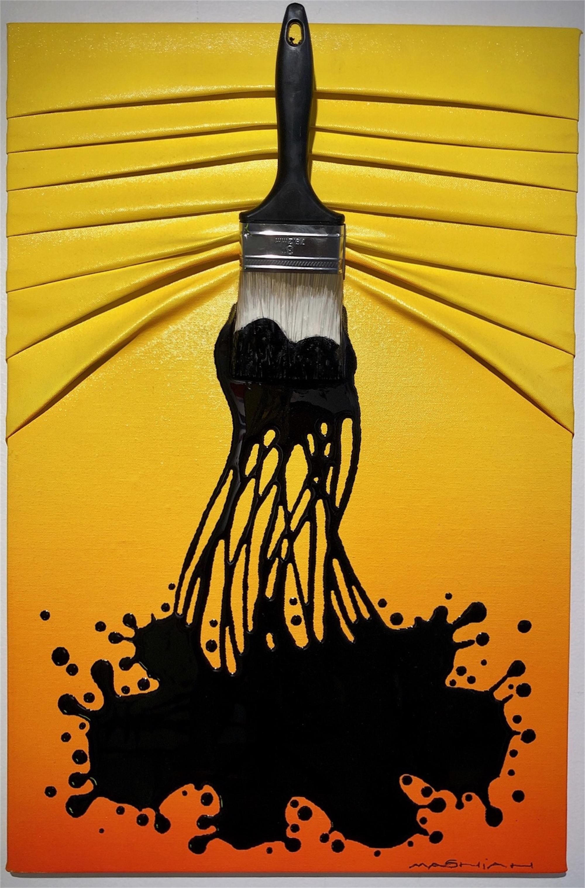 """Let's Paint"" small, Black Splash on Yellow/Orange by Efi Mashiah"