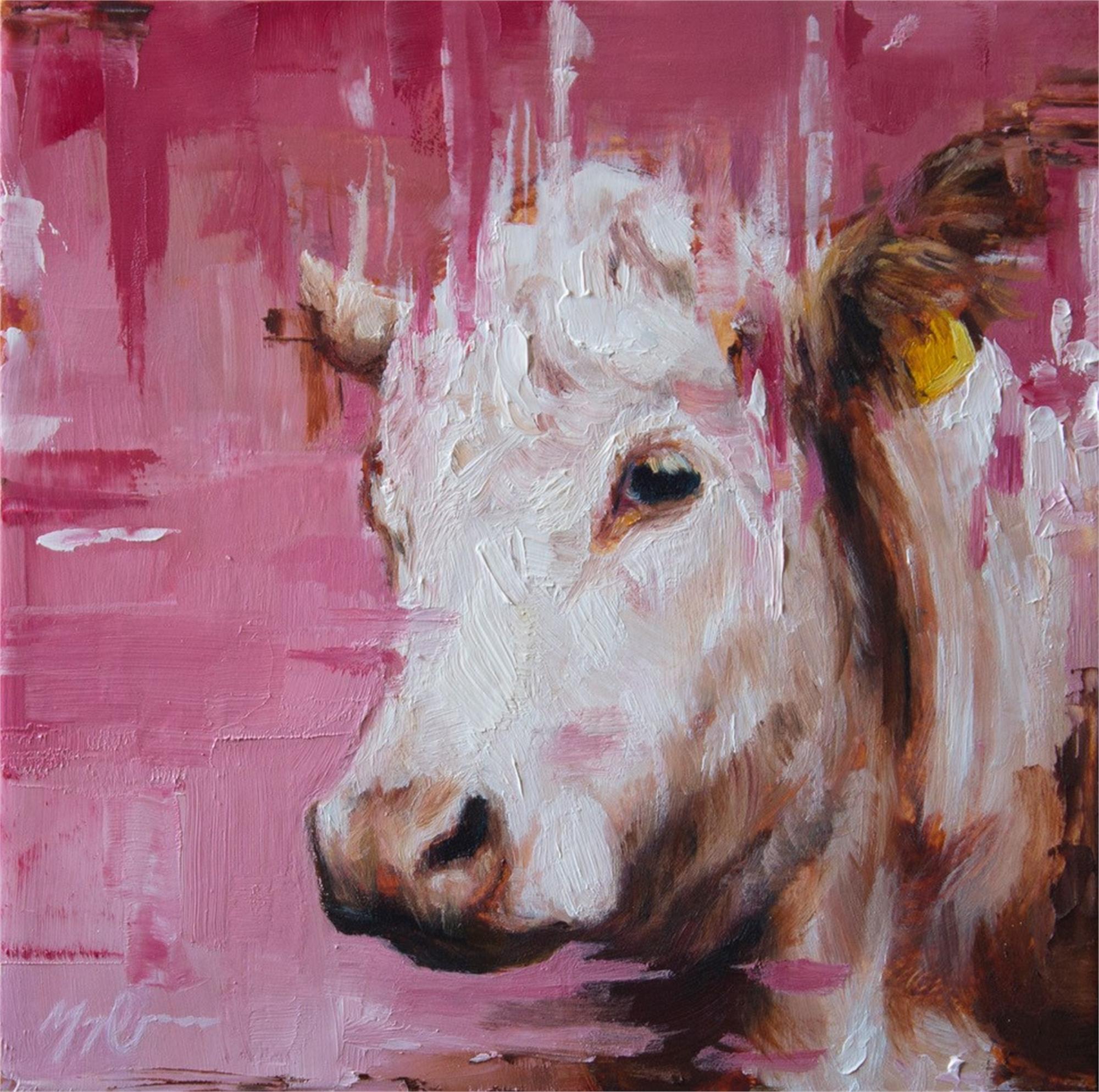 Pink Cow Portrait by Morgan Cameron
