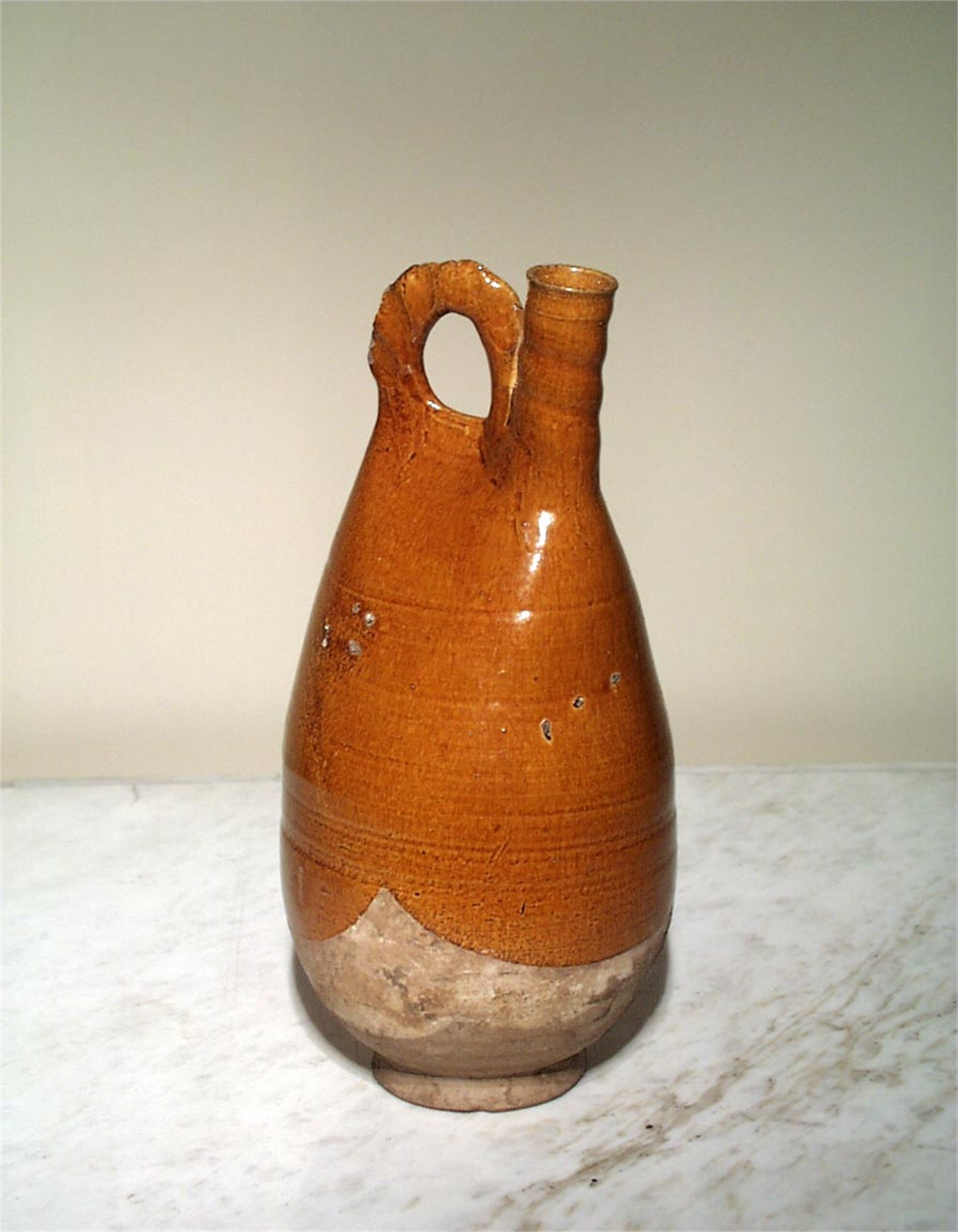 OVAL CHESTNUT GLAZED FLASK