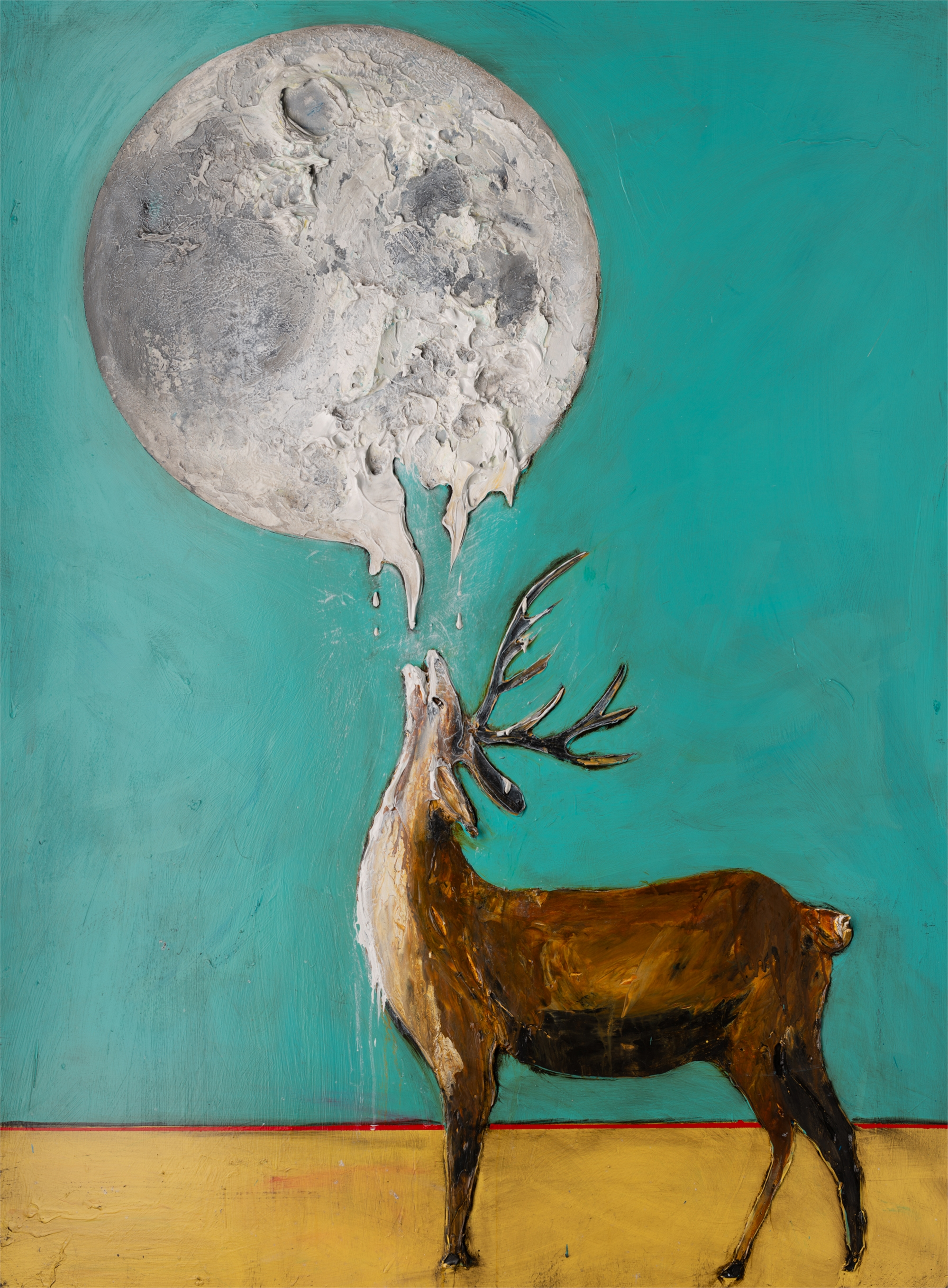 DEER AND MOON MS-44.5x59.5-2019-313 by JUSTIN GAFFREY