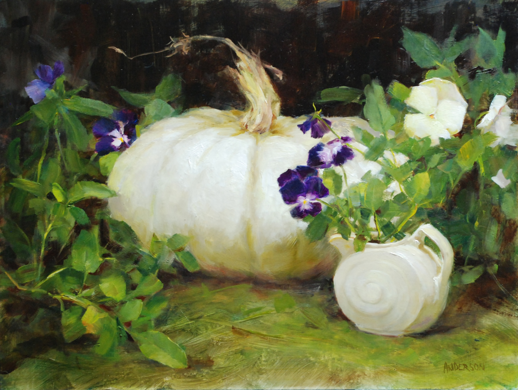 Purple Pansies by Kathy Anderson
