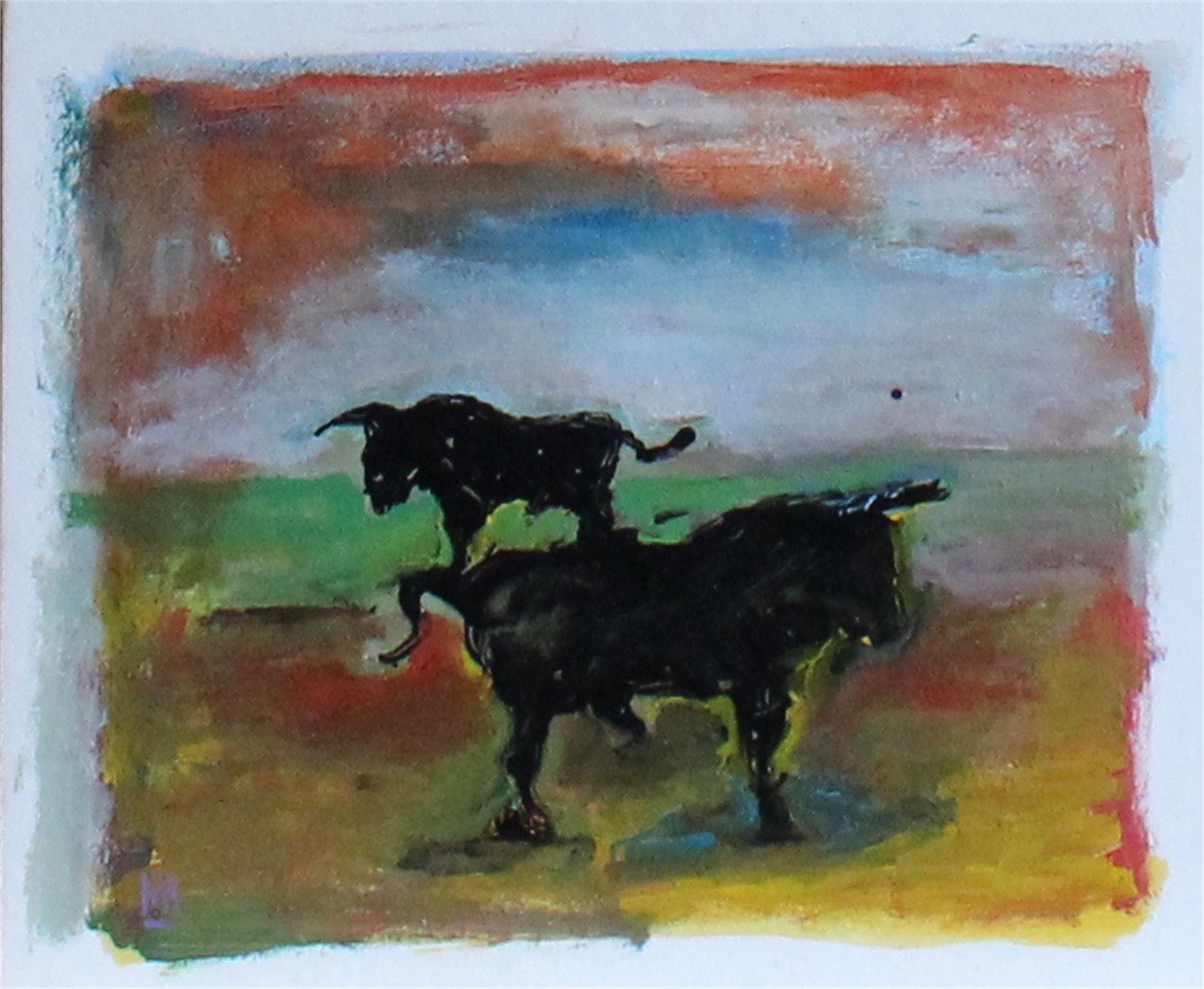 Two Bulls in a Field by Michael Snodgrass