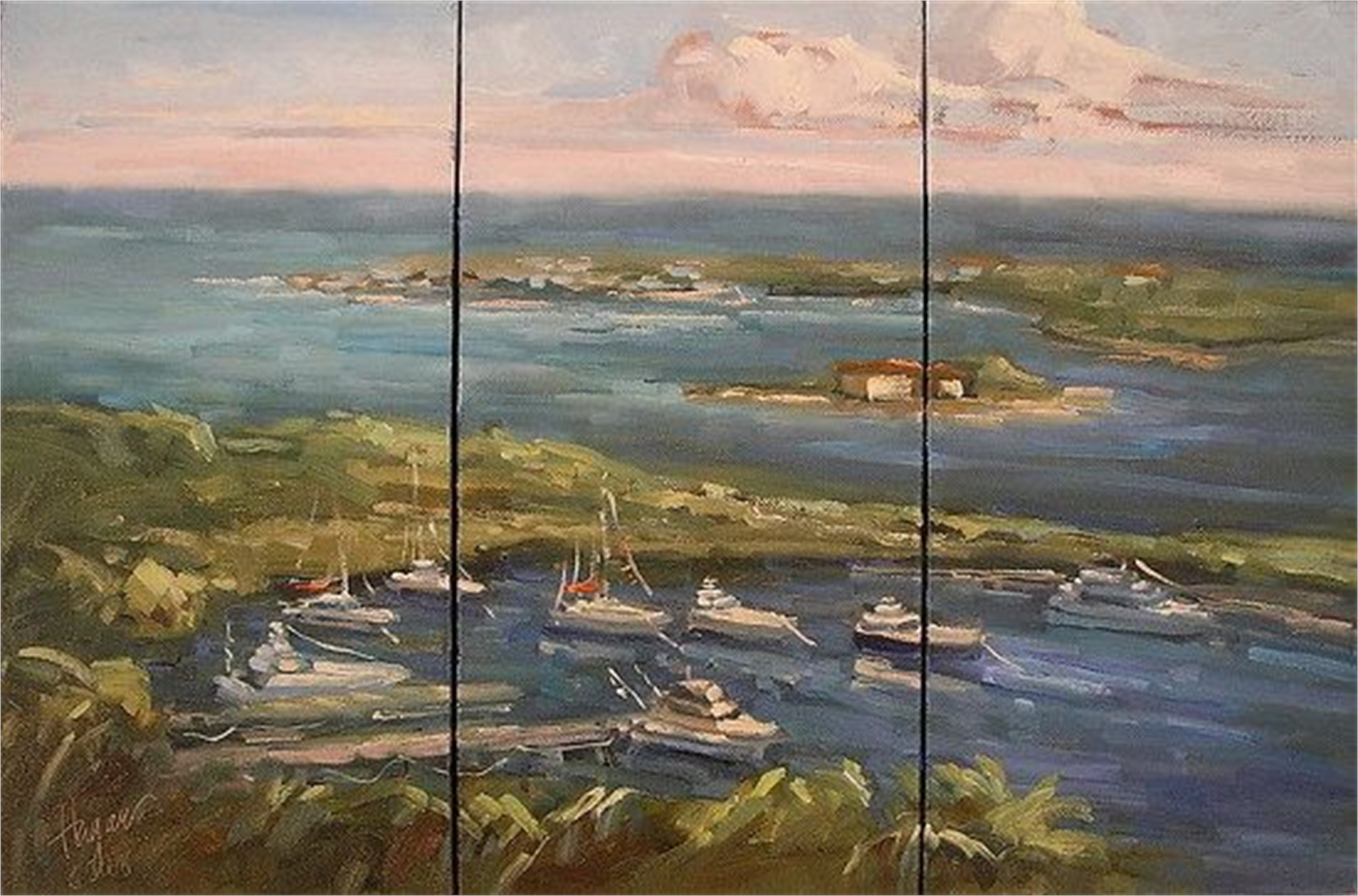 The View from Hope Town Light House (Triptych) by Karen Hewitt Hagan