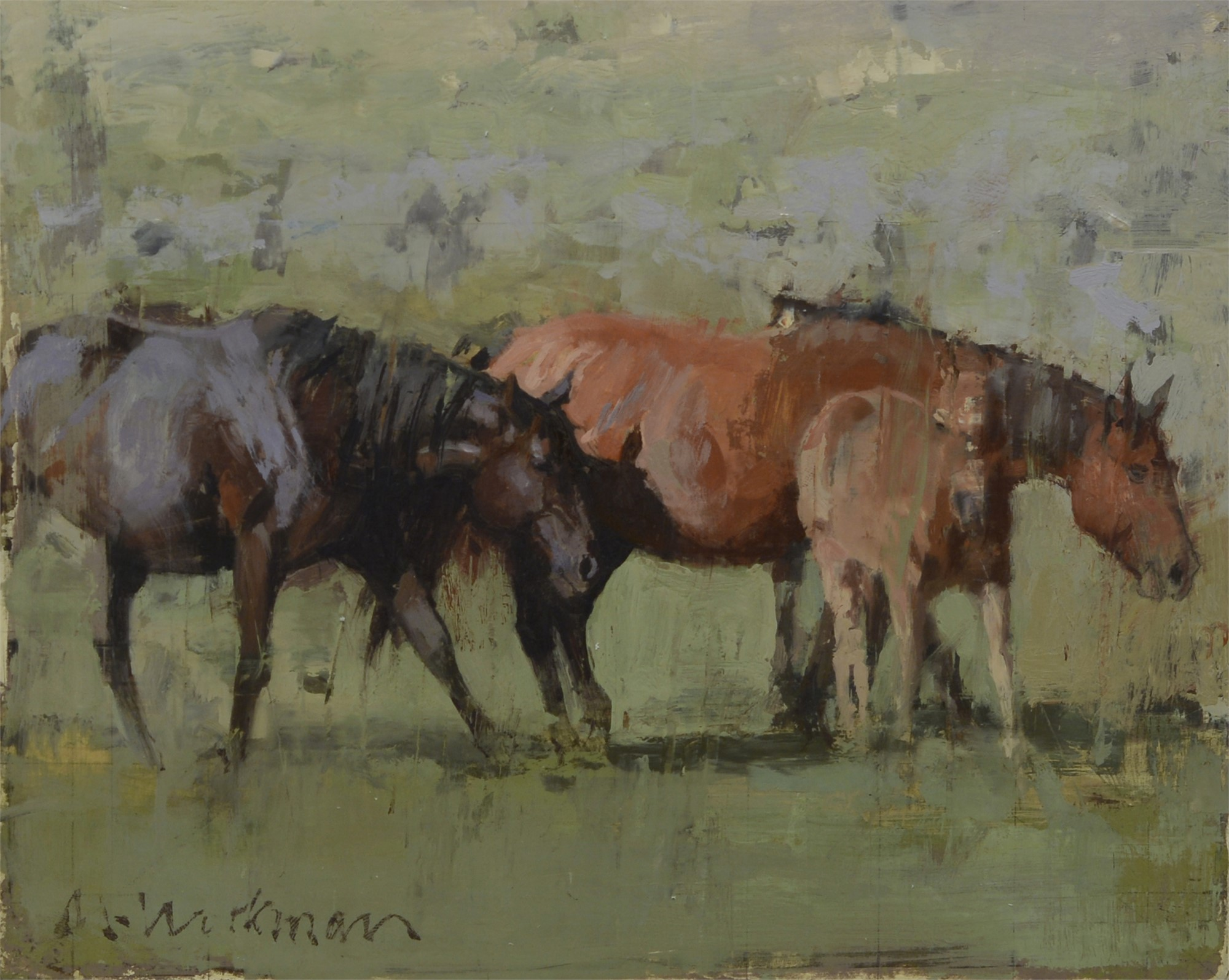 Sketch of Two Mares and a Foal by Michael Workman