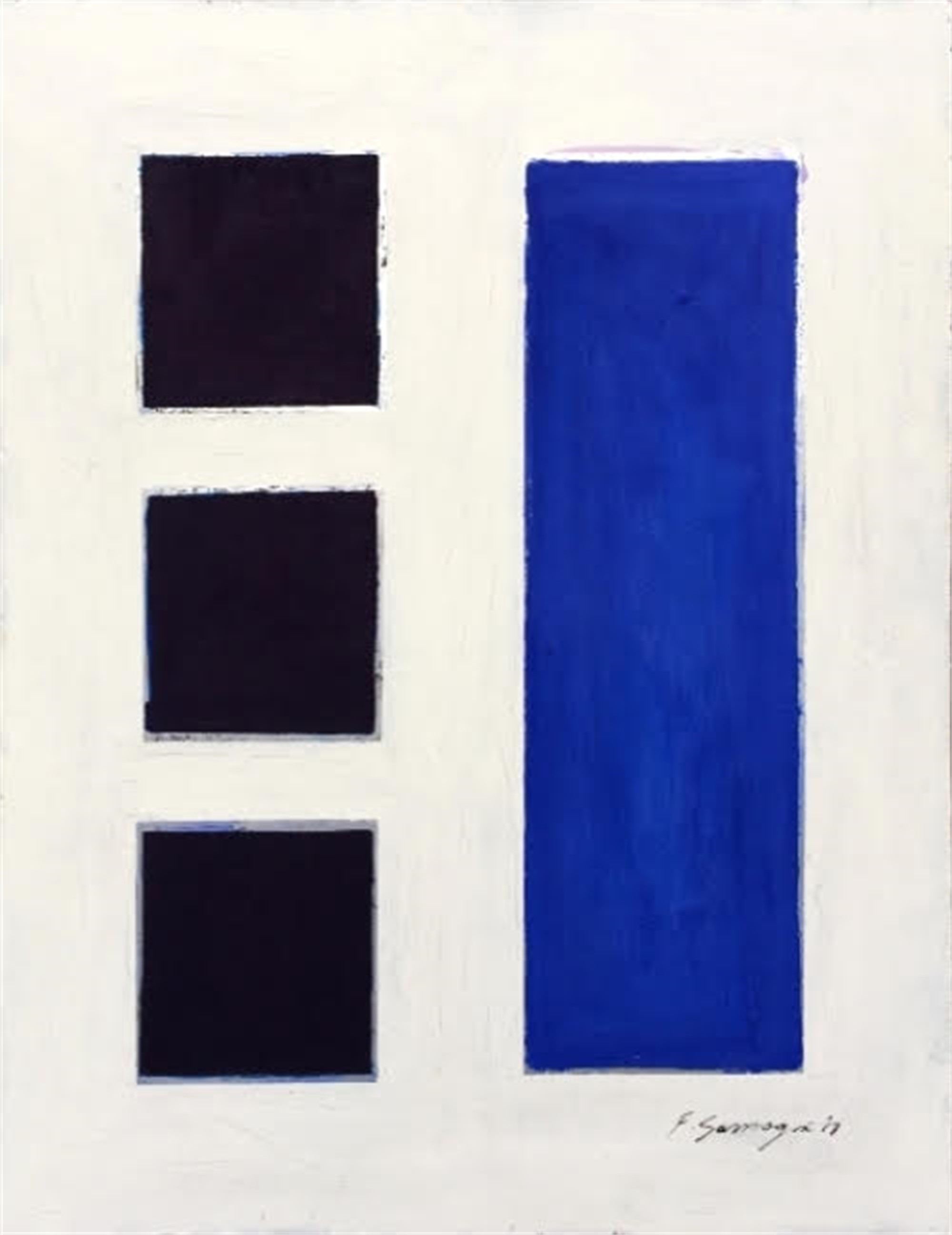 No Significance #12 (blue squares / white background) by Fabio Sanzogni