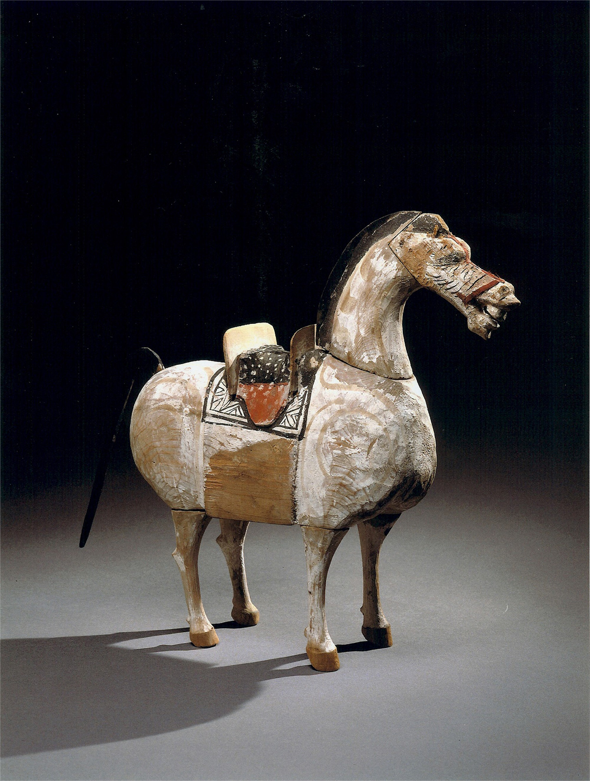 POLYCHROME WOOD FIGURE OF A HORSE