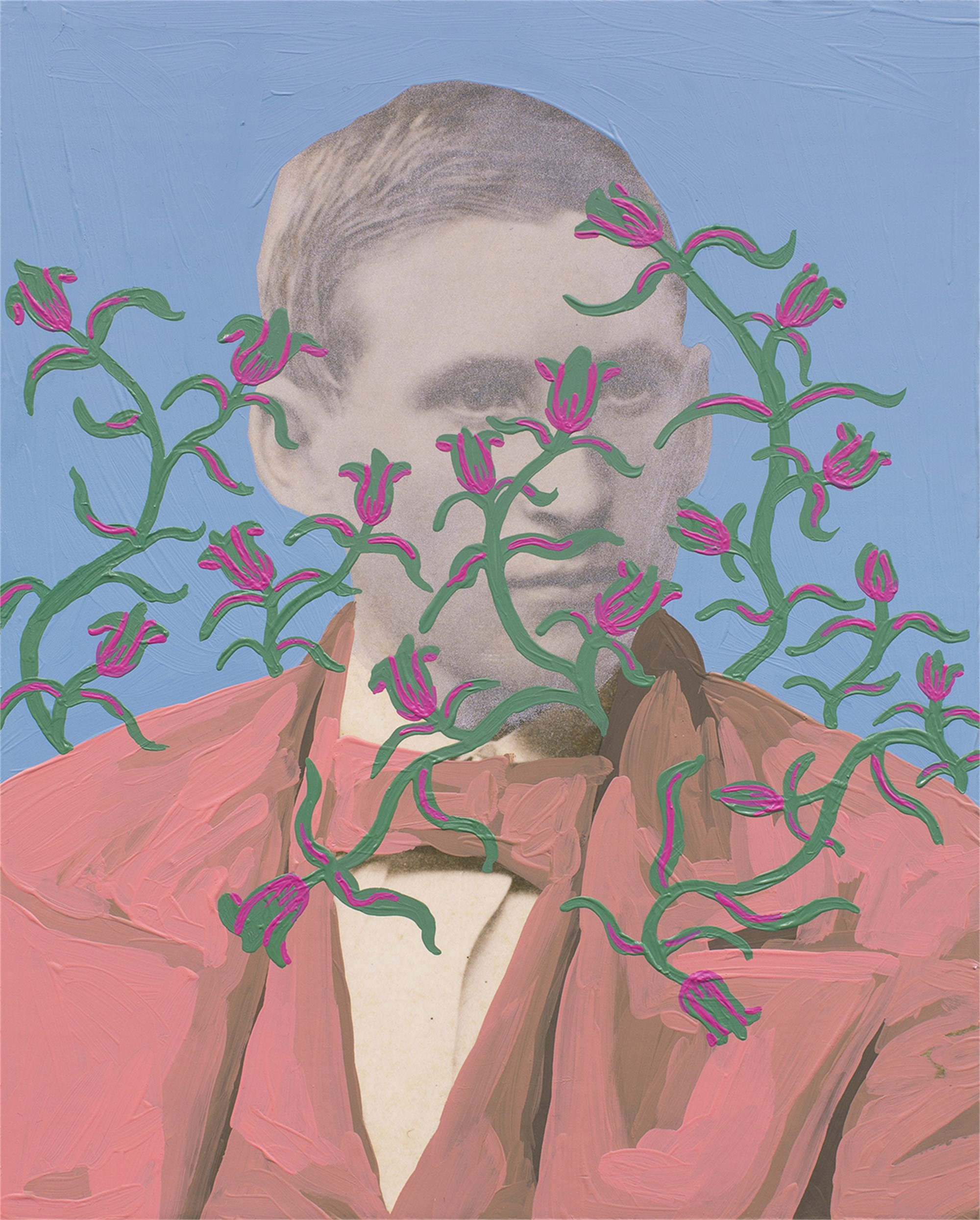 Untitled (Man with Silver Face and Green and Pink Pattern) by Daisy Patton