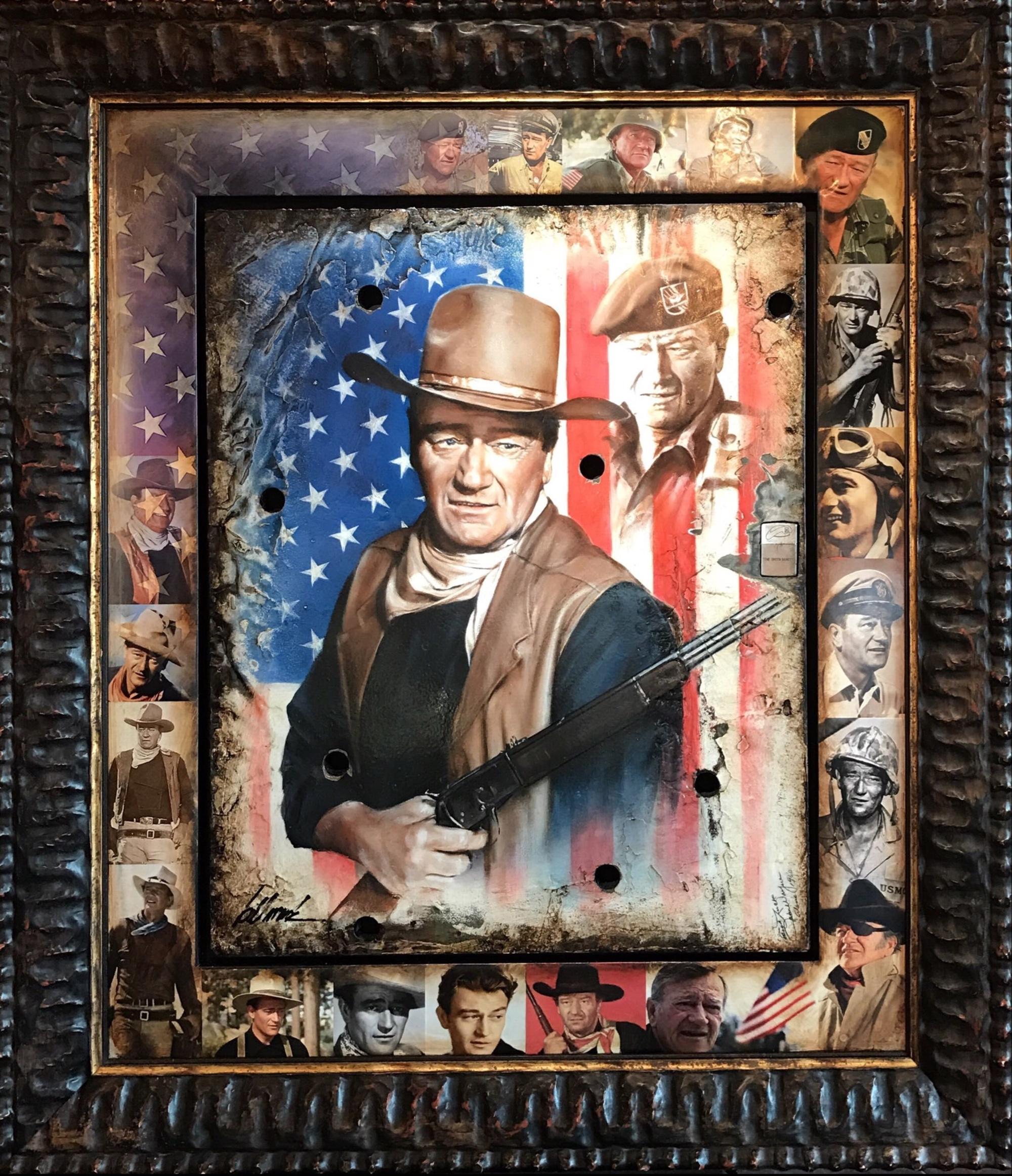 John Wayne with Lighter by Bill Mack Hollywood Sign