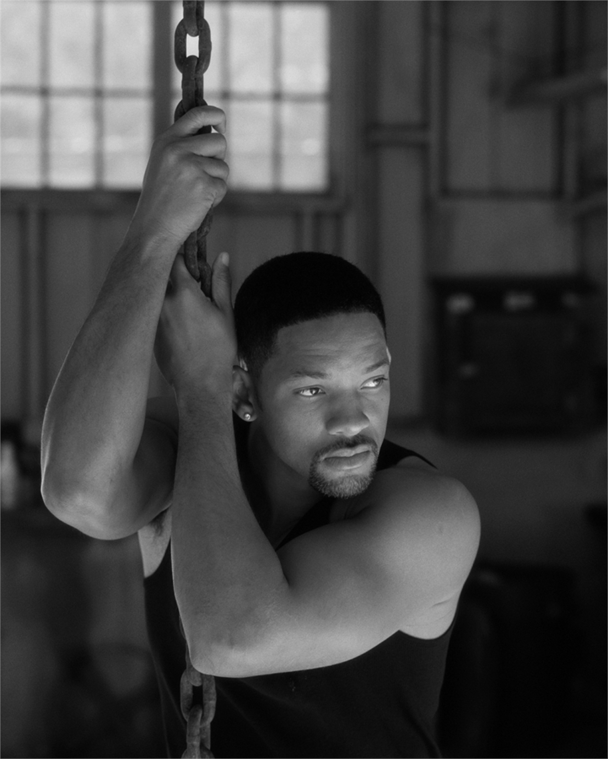 03011 Will Smith Hanging From Chain BW by Timothy White