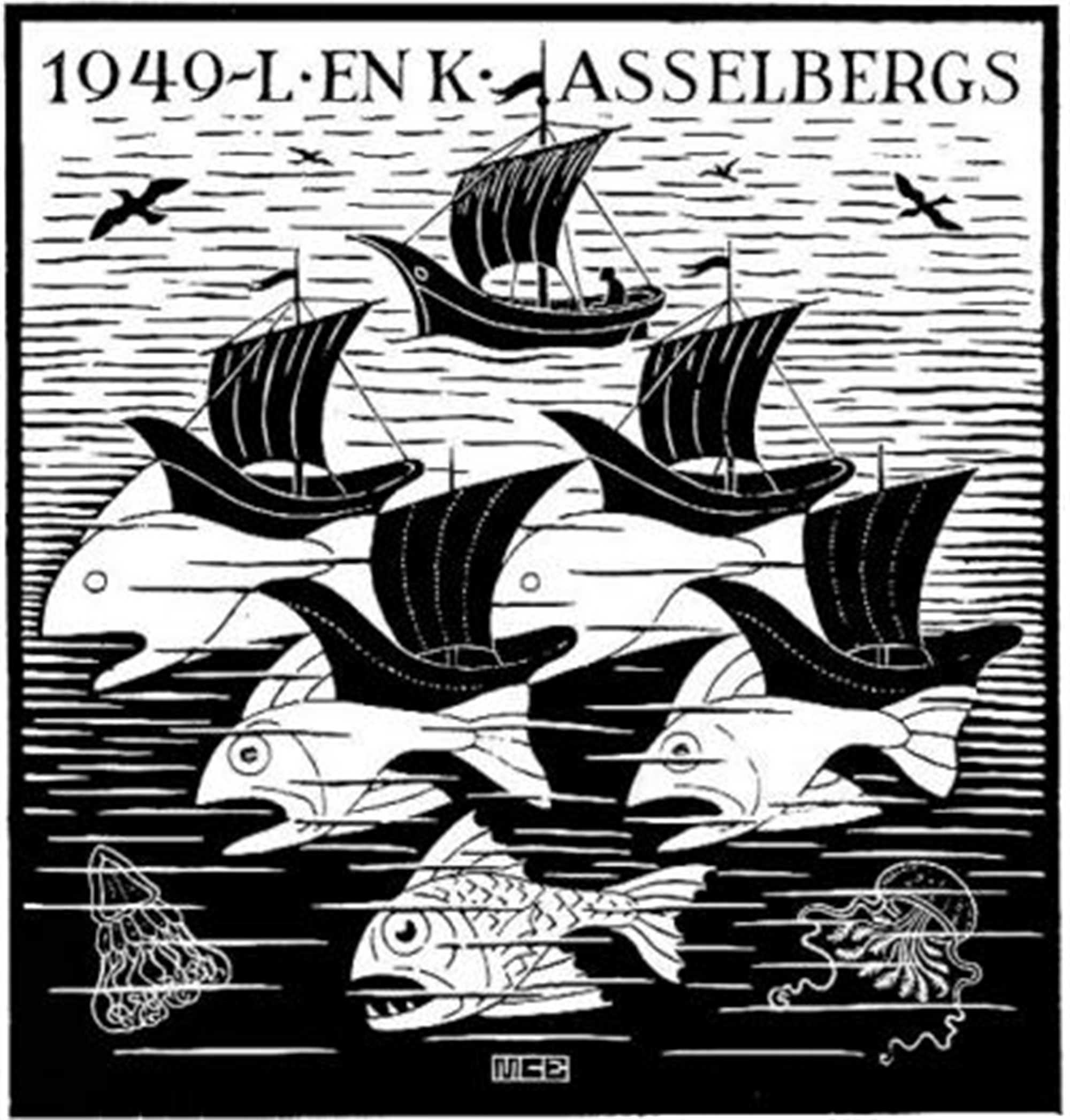 Boats and Fish by M.C. Escher