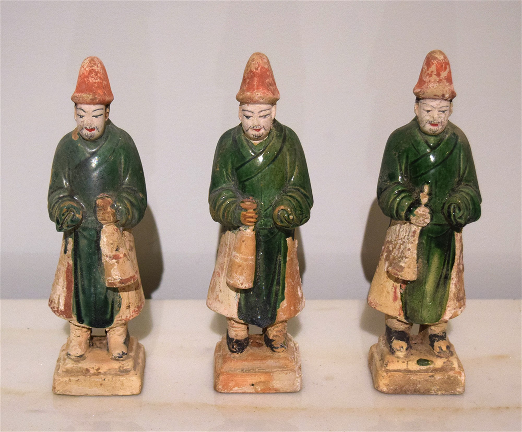SET OF 3 GREEN-GLAZED POTTERY MUSICIANS