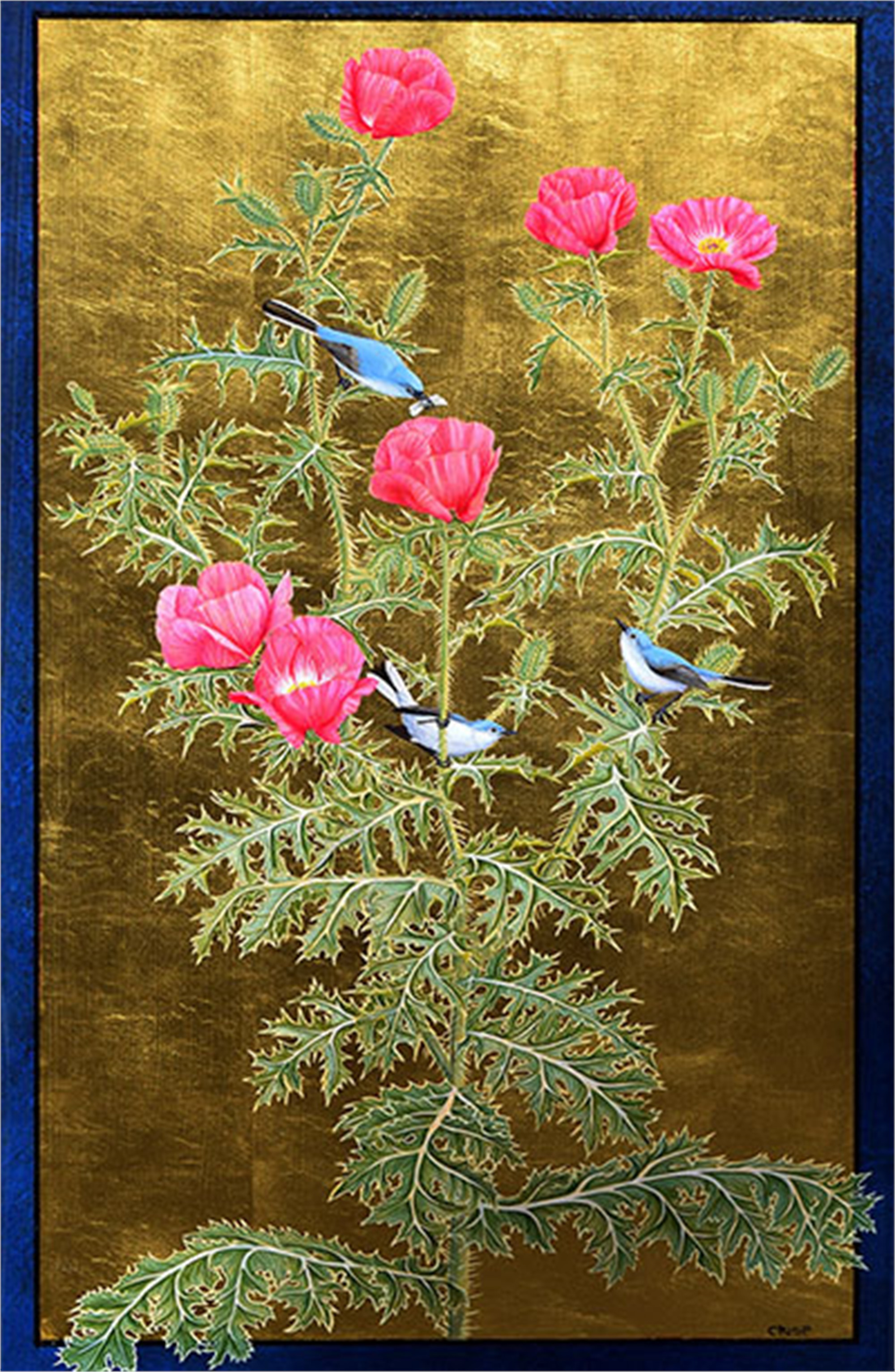 Rose Prickly Poppy and Blue-grey Gnatcatchers by Margie Crisp