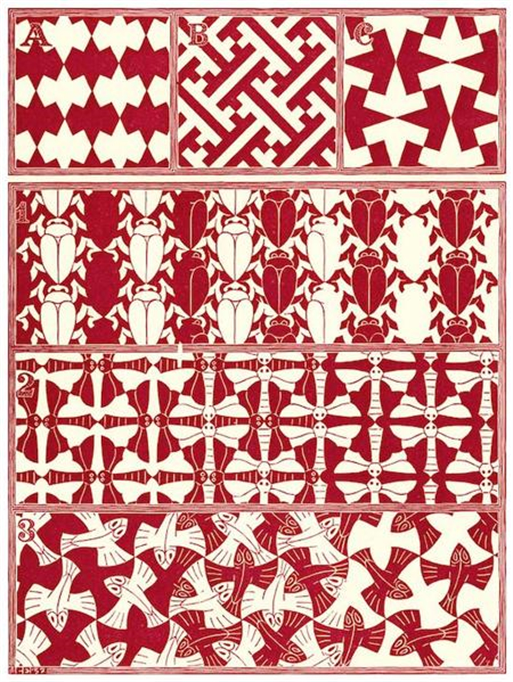 Regular Division of the Plane II Red by M.C. Escher