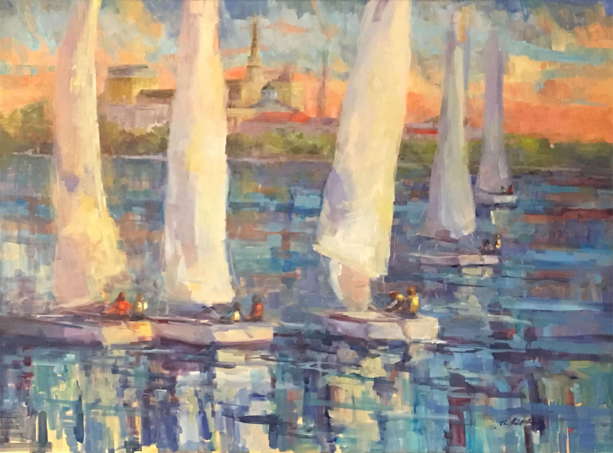 Charleston Harbor Sailing by Karen Hewitt Hagan