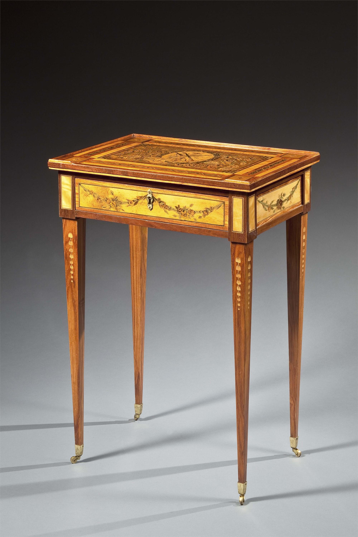 LOUIS XVI ORMOLU MOUNTED MARQUETRY TABLE A ECRIRE ATTRIB. TO HAUPT