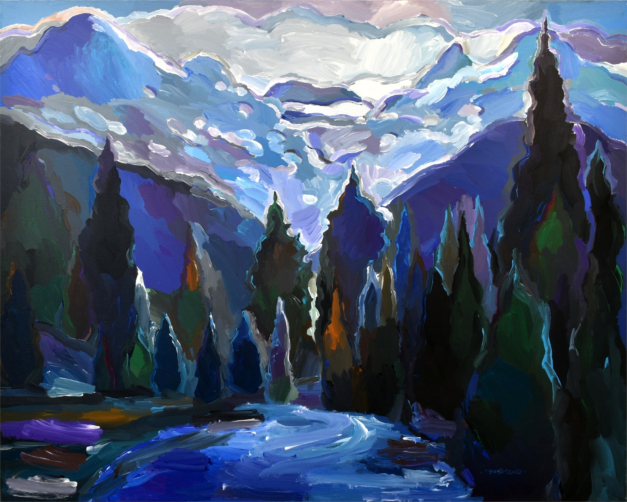 Cascade of Blue by Hooshang Khorasani