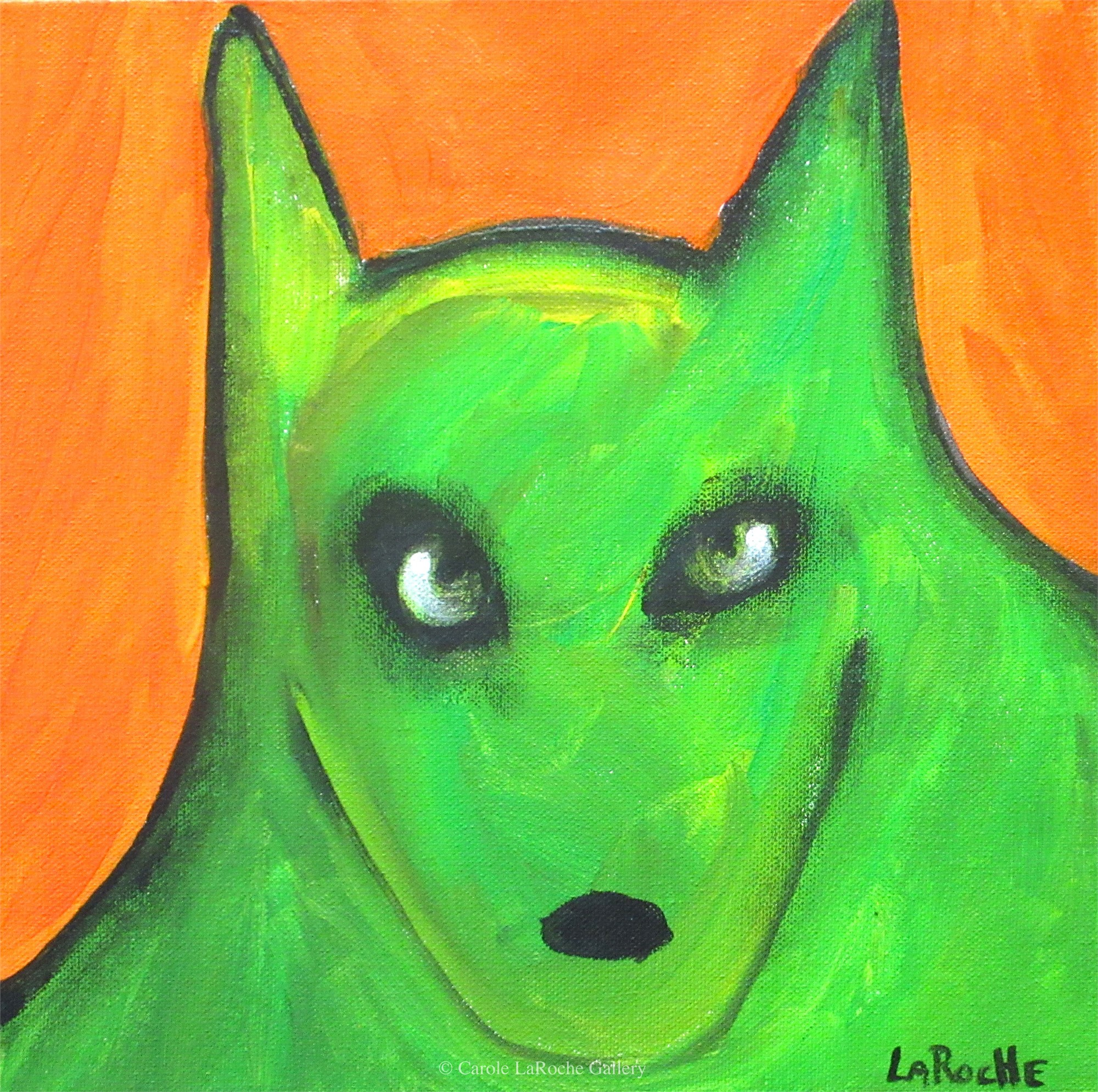 ORANGE SKY/GREEN WOLF by Carole LaRoche