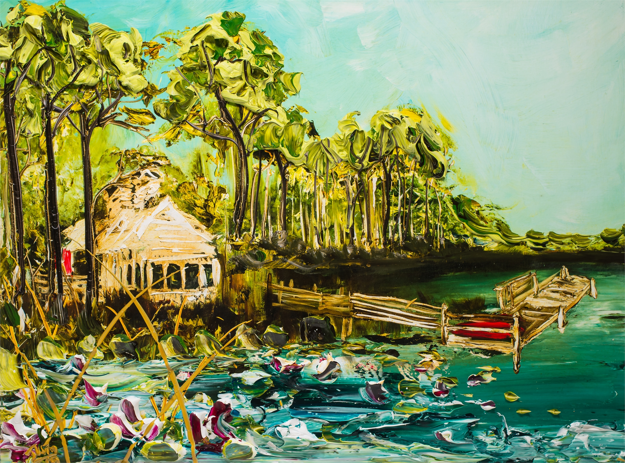 WATERCOLOR BOATHOUSE HPAE5/50 by Justin Gaffrey