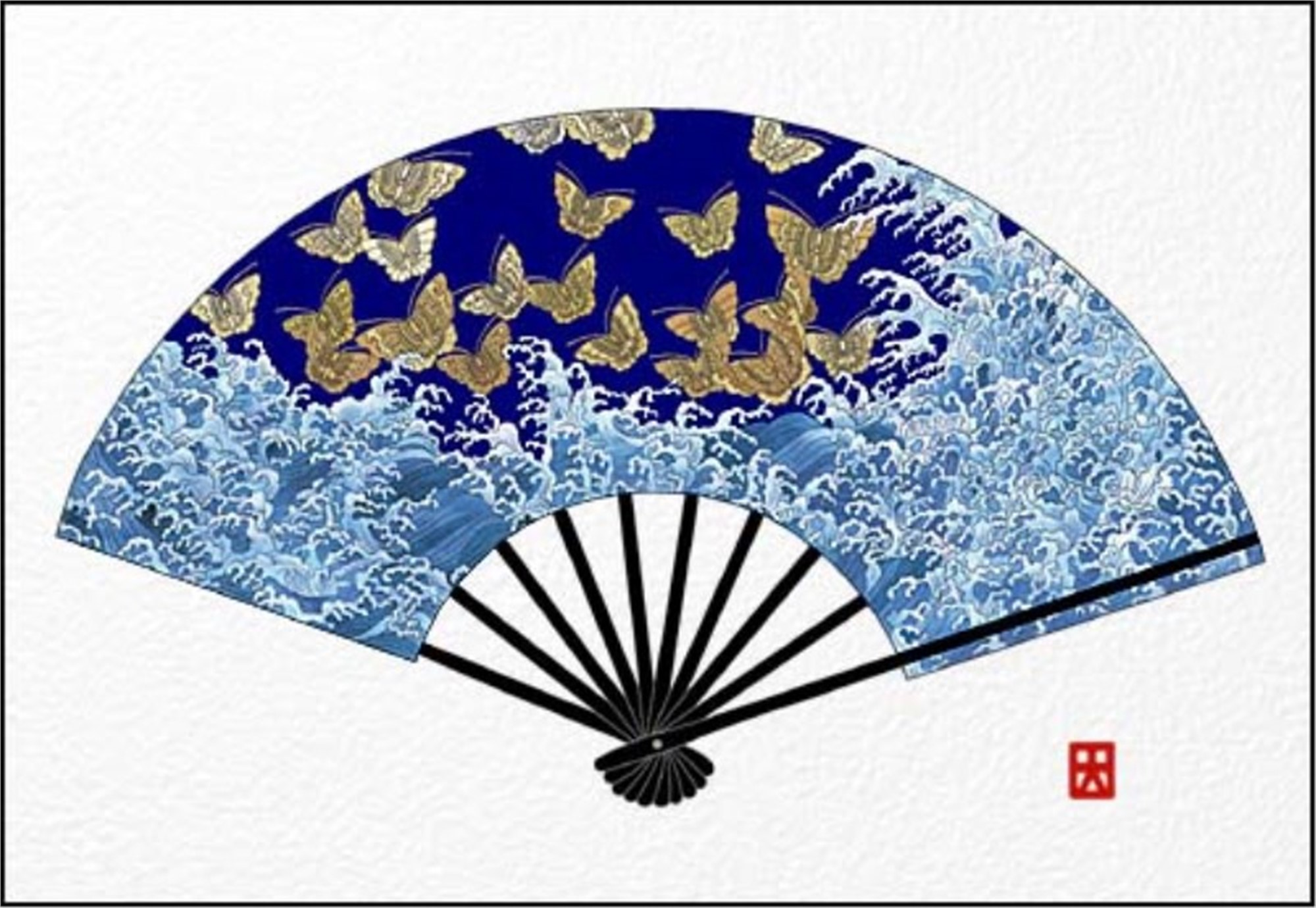 Waves And Butterflies (Fan) by Hisashi Otsuka