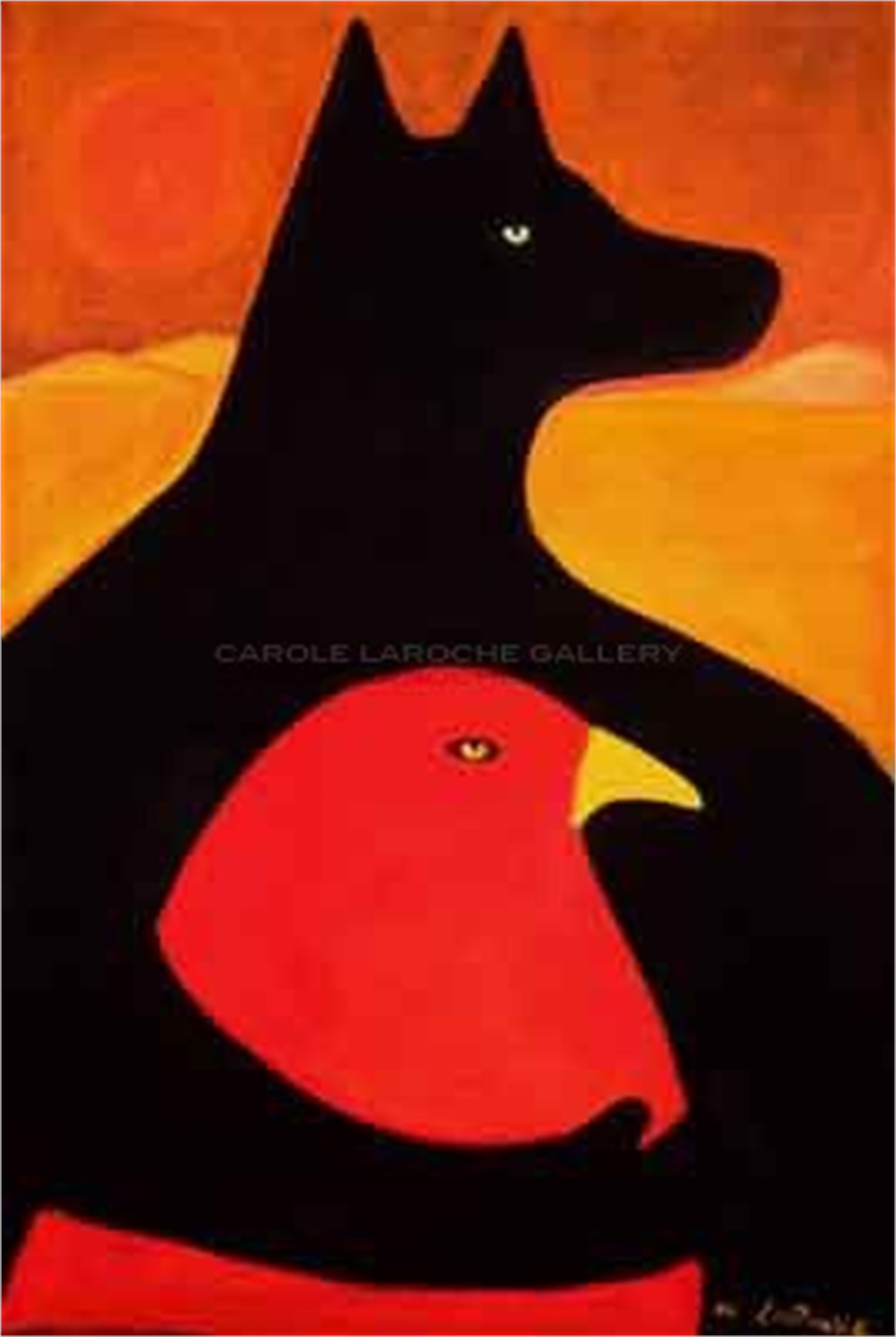 "THE PROTECTOR  limited edition giclee on paper/framed LARGE 50""x37"" or on canvas 44""x30"" $3500 - or - MEDIUM 38""x26"" $2200 by Carole LaRoche"