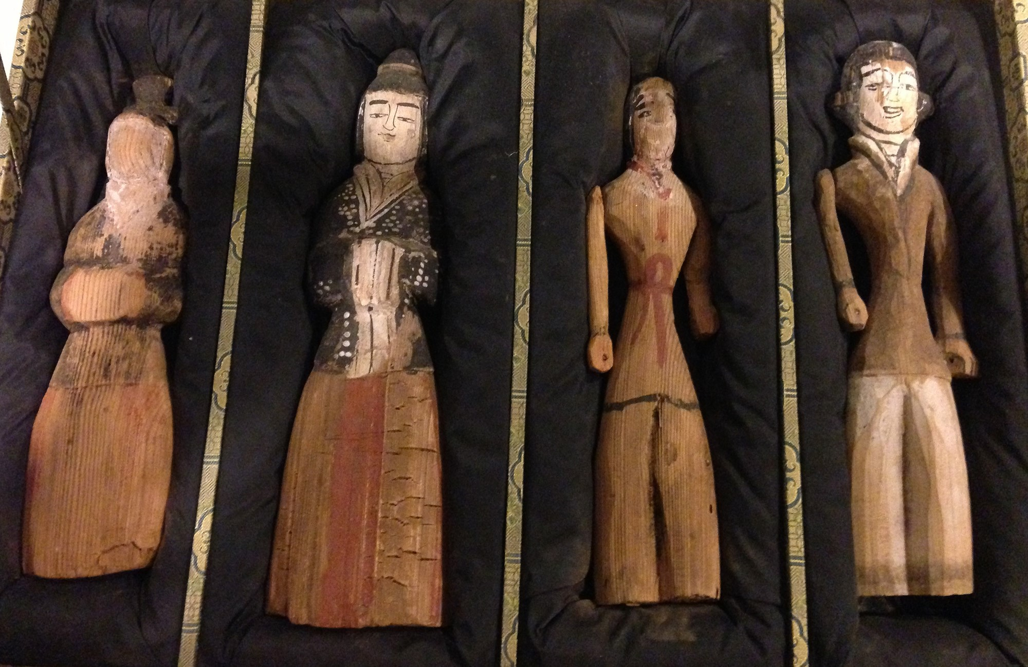 SET OF FOUR POLYCHROME WOOD FIGURES