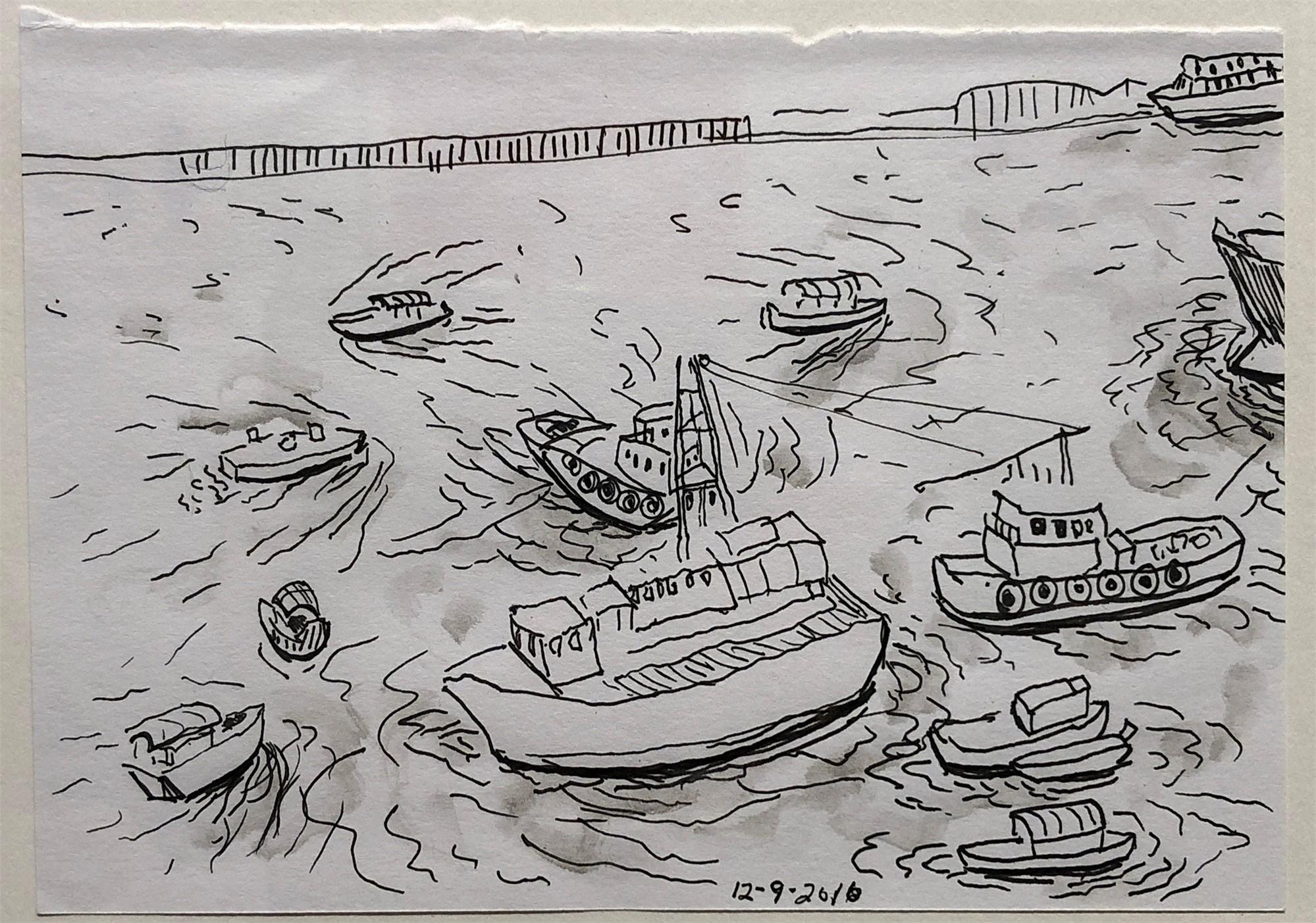 Hong Kong River Scene by Floyd Newsum