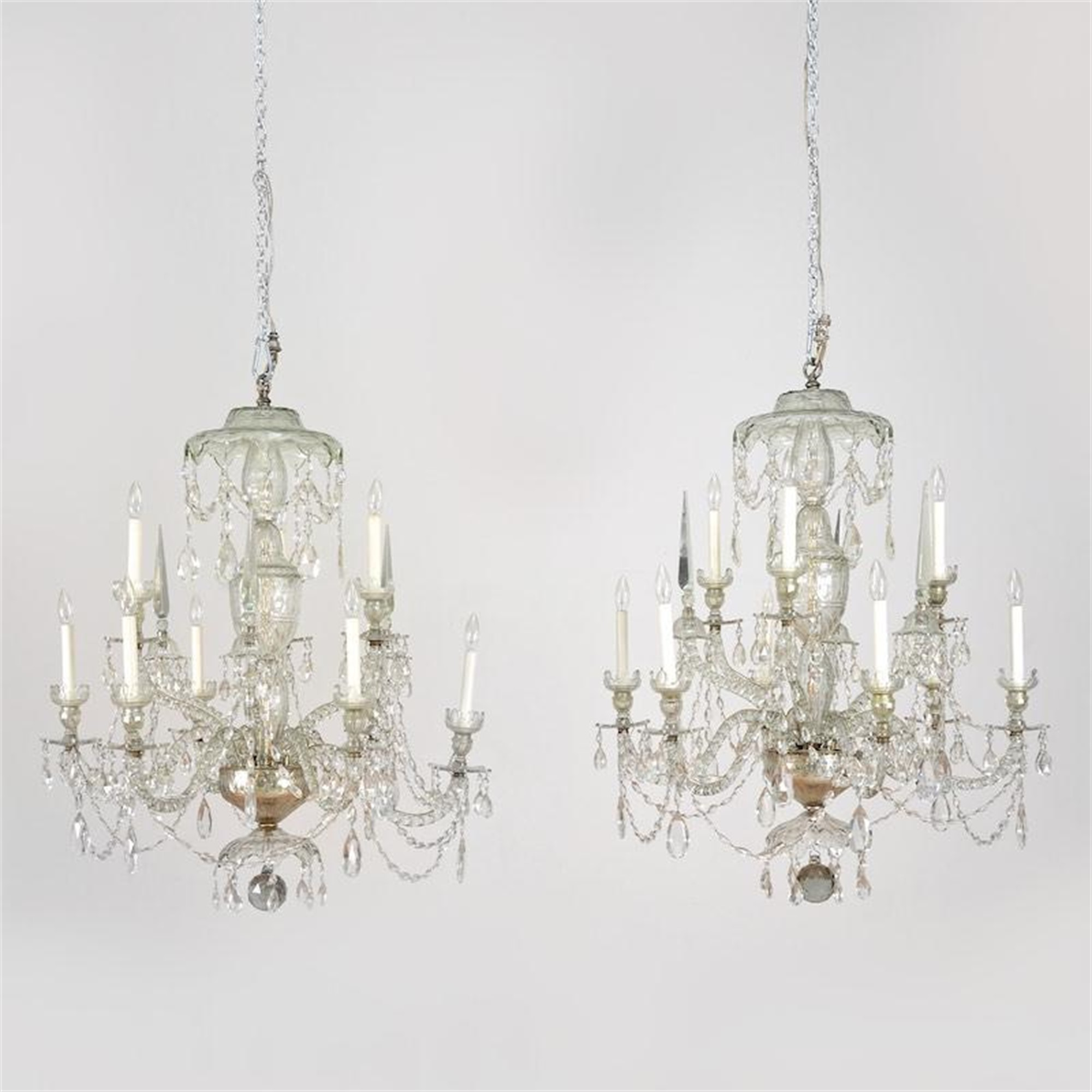 PAIR OF LATE GEORGIAN CUT GLASS CHANDELIERS
