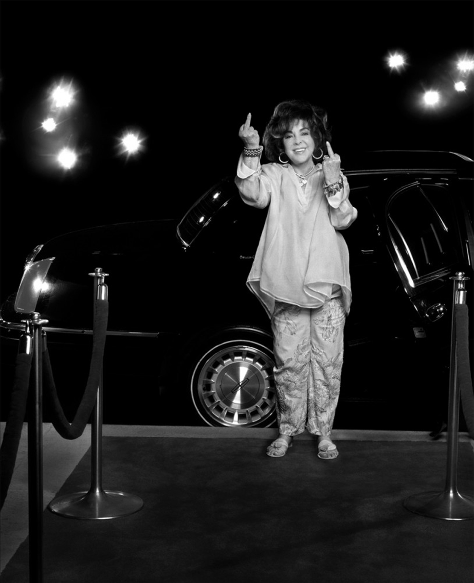 00081 Elizabeth Taylor Off Outside of Limo BW by Timothy White