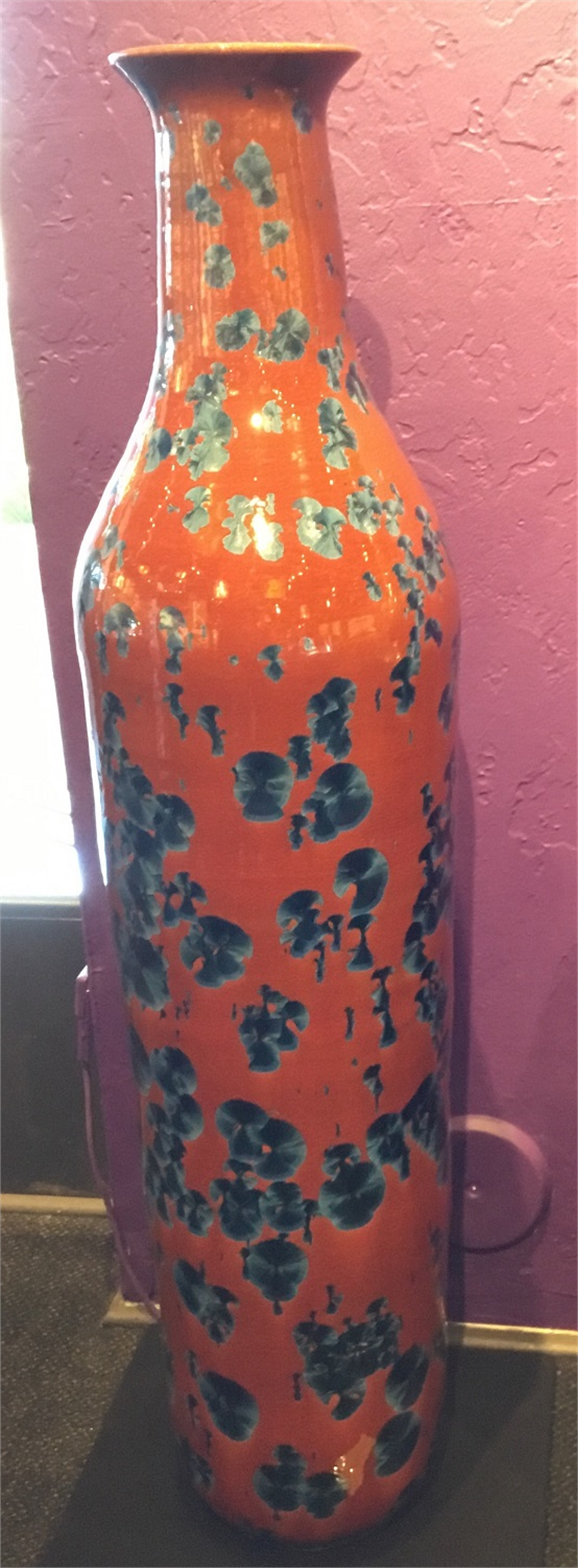 Blue Zinc Crystal Glaze on Orange Vase by Jess Drake