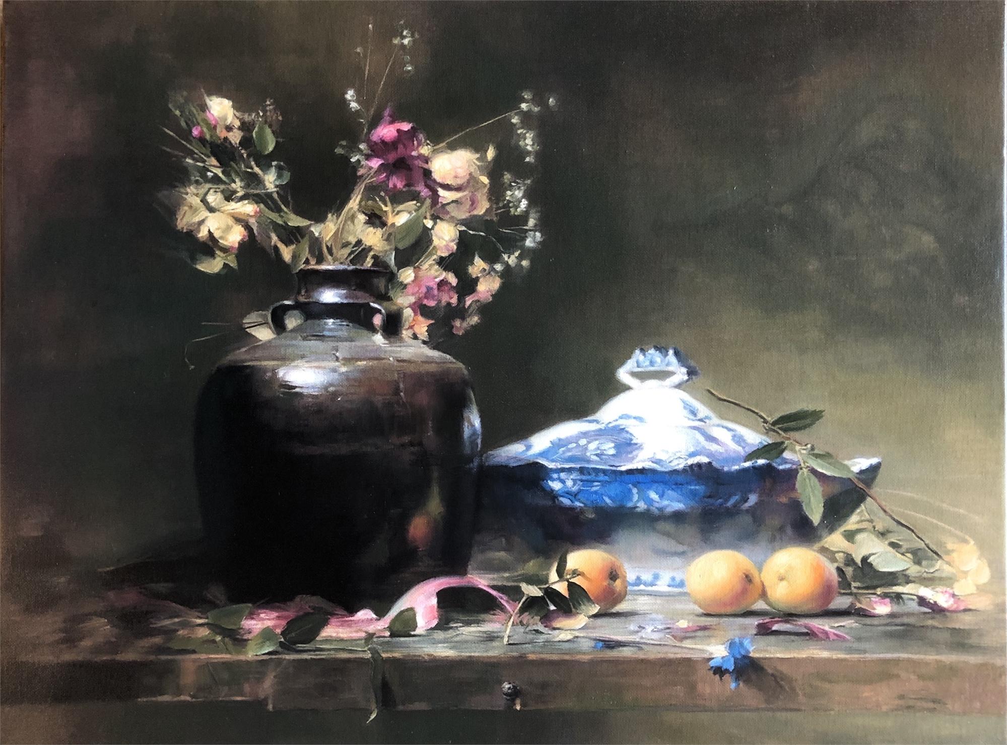Still Life with Blue Vase by Juan Suarez Rodriguez