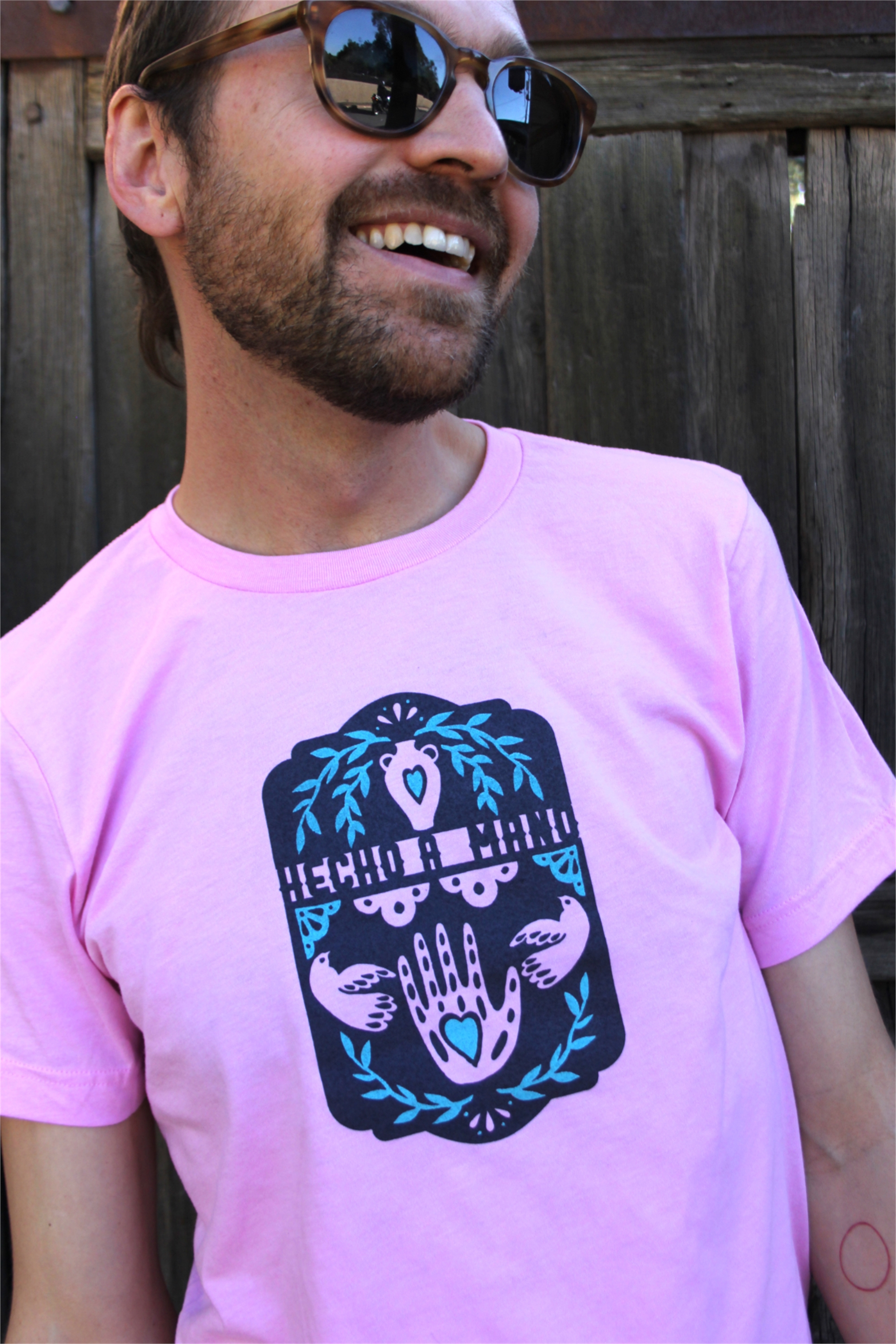 Unisex Pink T-Shirt by Hecho a Mano