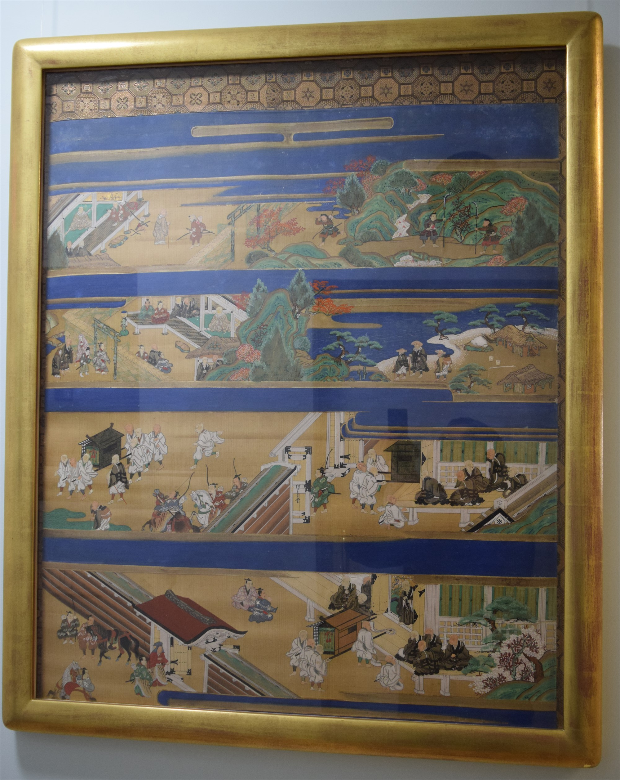 JAPANESE HANGING SCROLL ON SILK OF LIFE OF SAINT SHINRAN