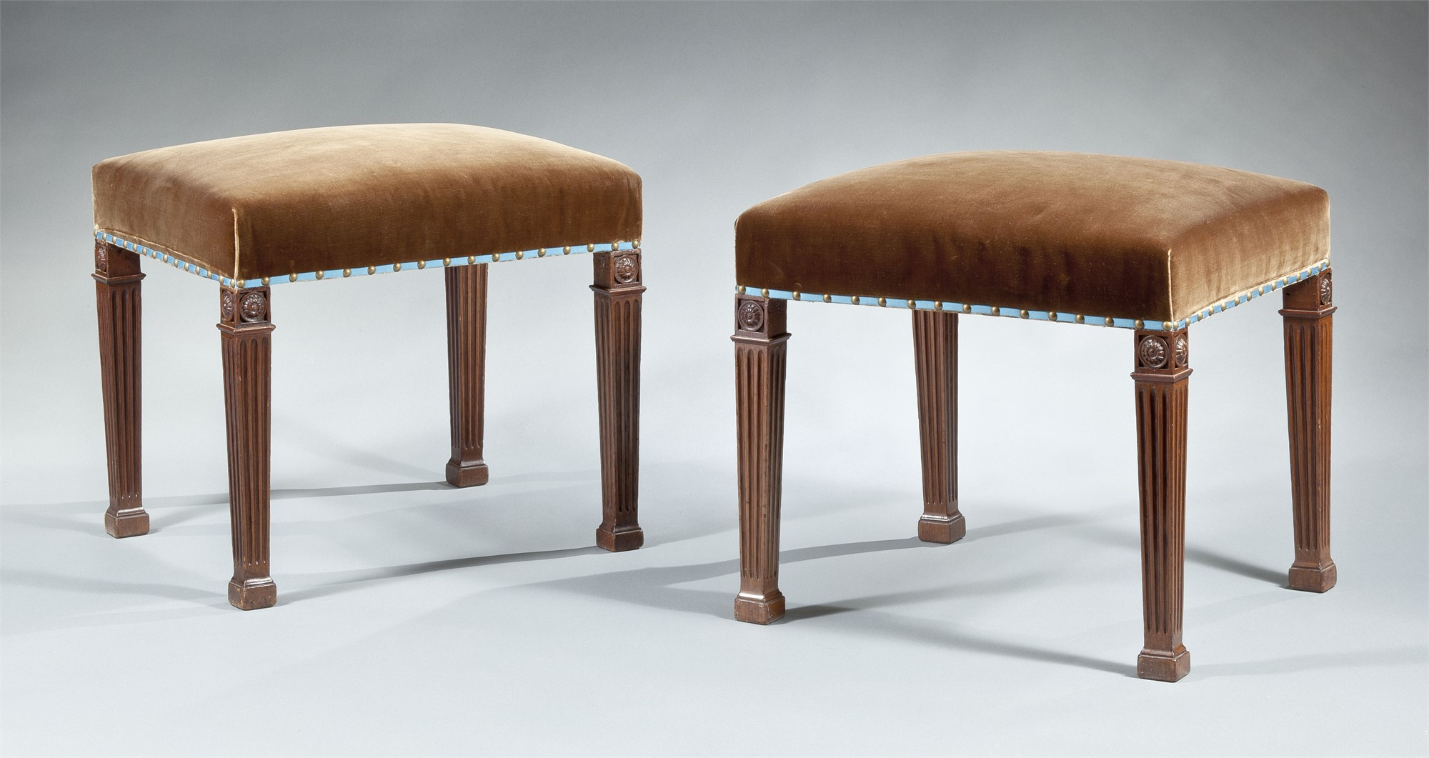 PAIR OF GEORGE III MAHOGANY STOOLS ATTRIB. TO CHIPPENDALE