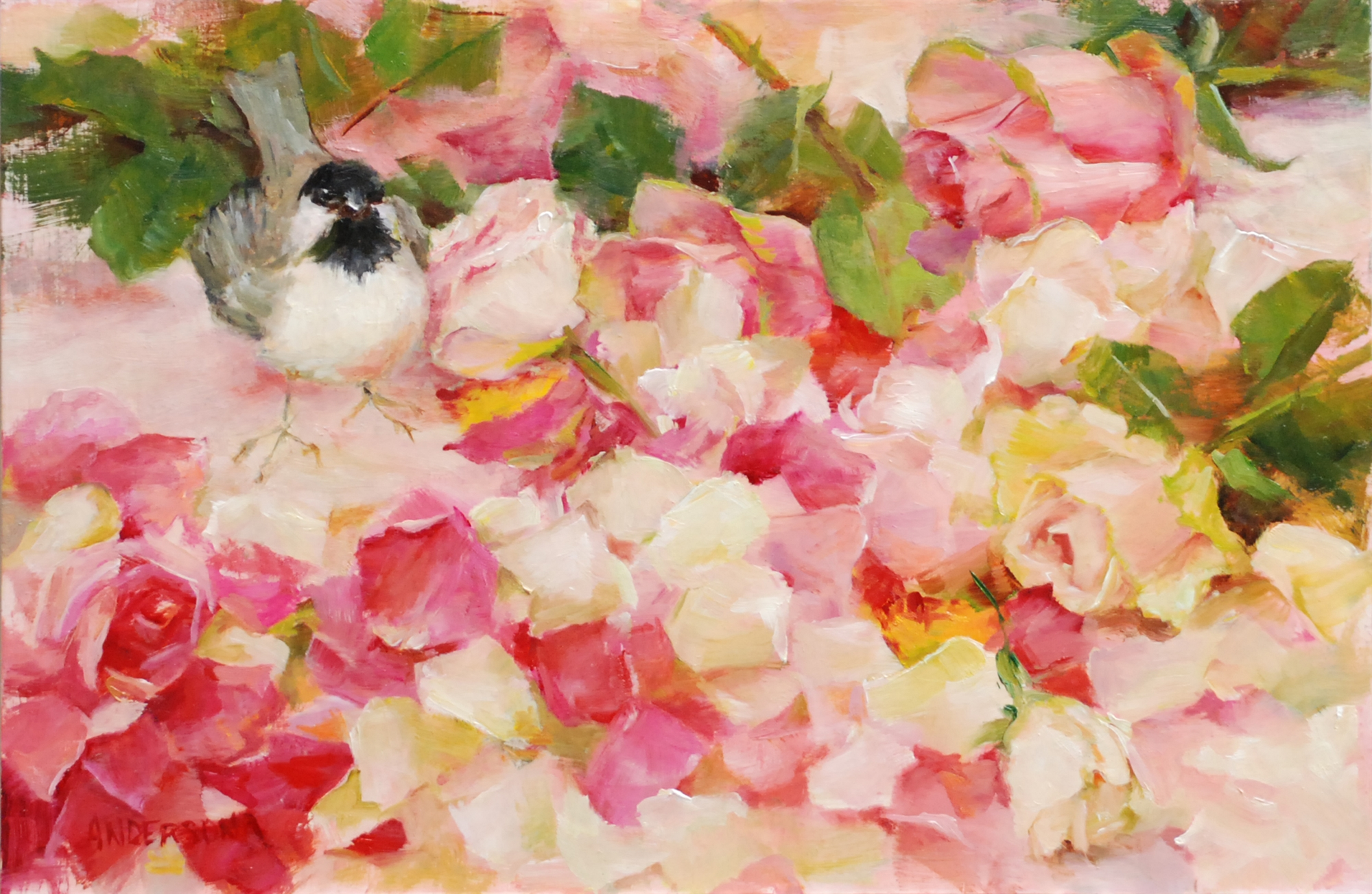 Rose Petals and Chickadee by Kathy Anderson