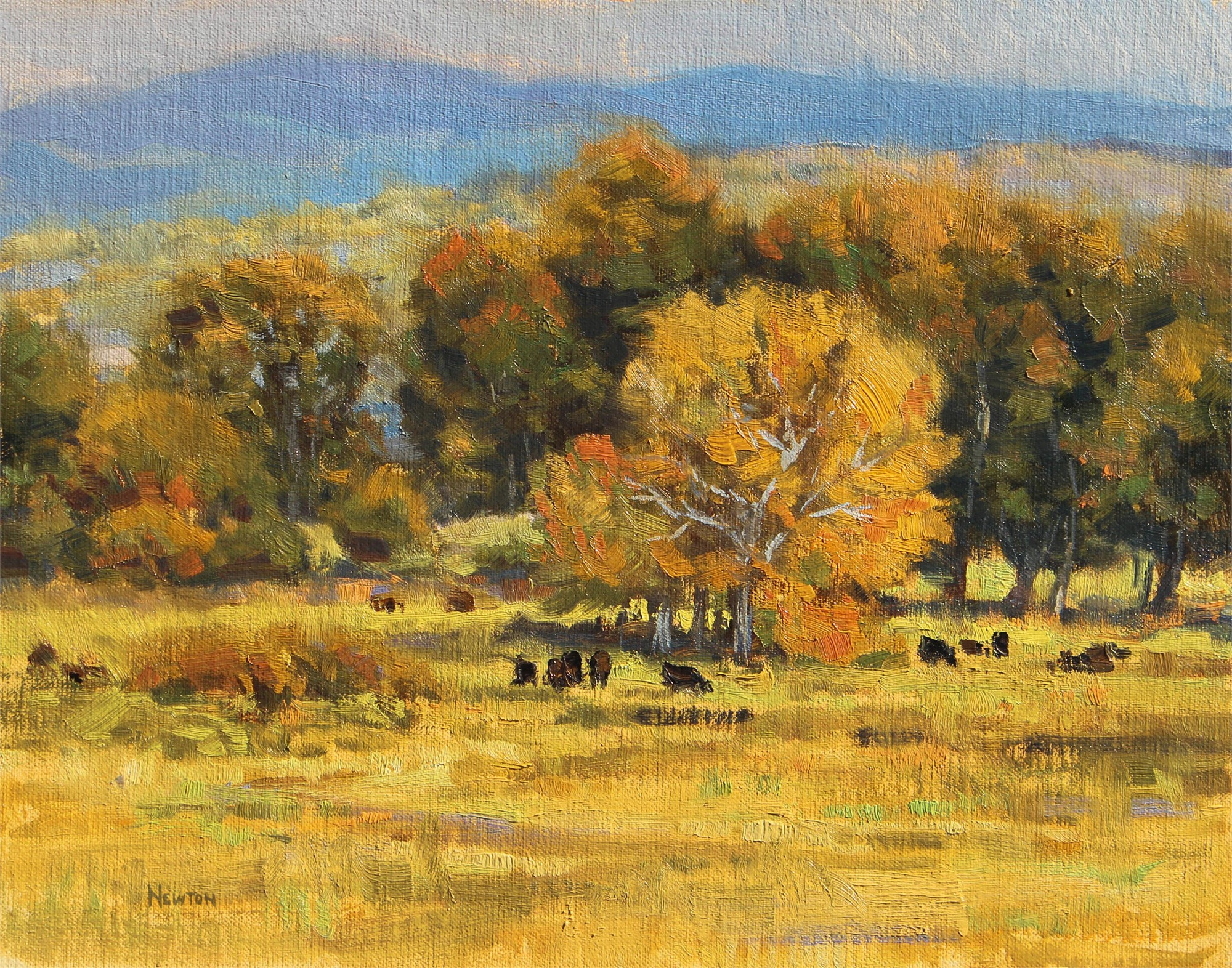 Cottonwoods & Cattle by Wes Newton
