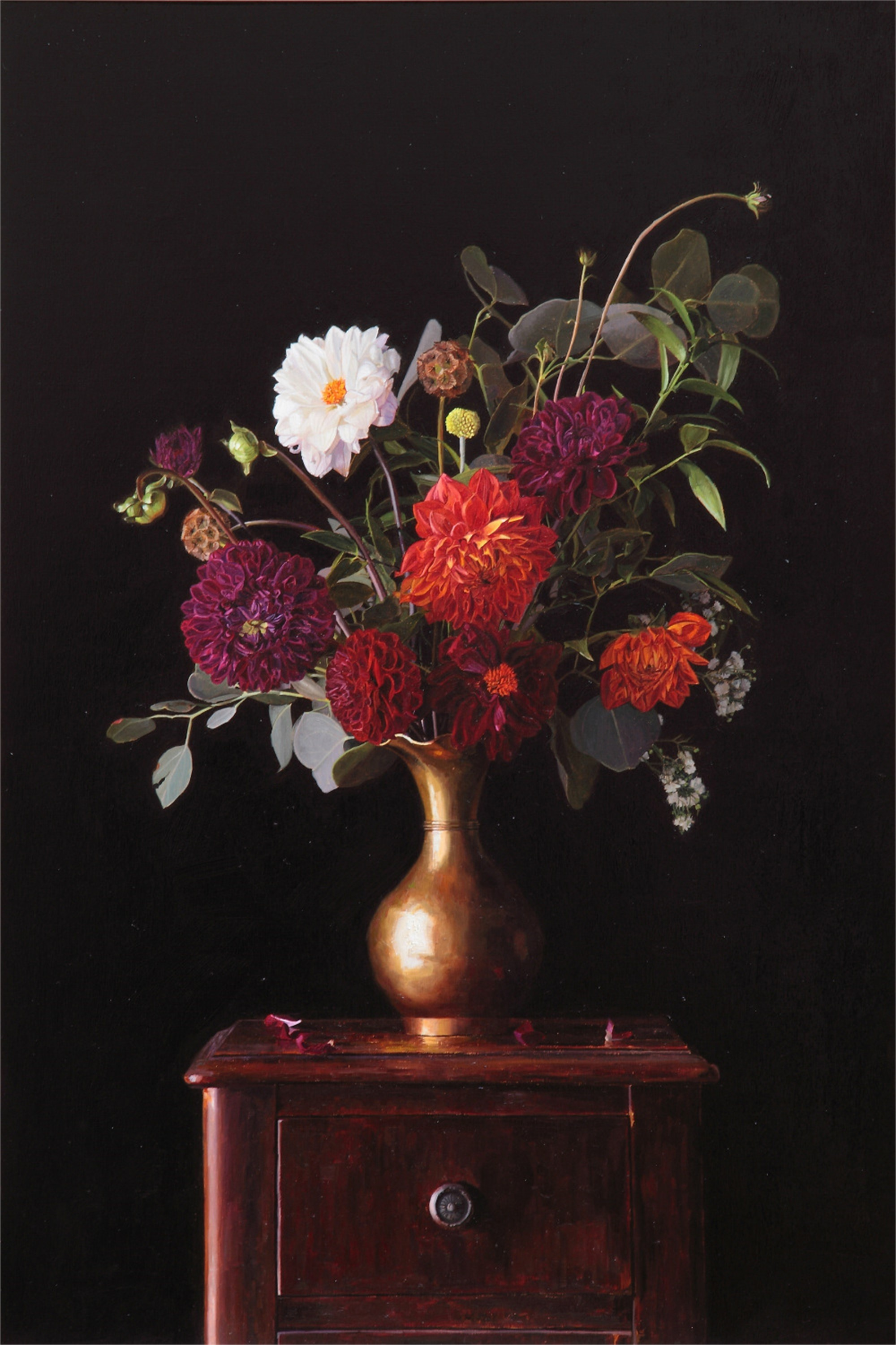 Floral in Brass Vase by Greg Gandy