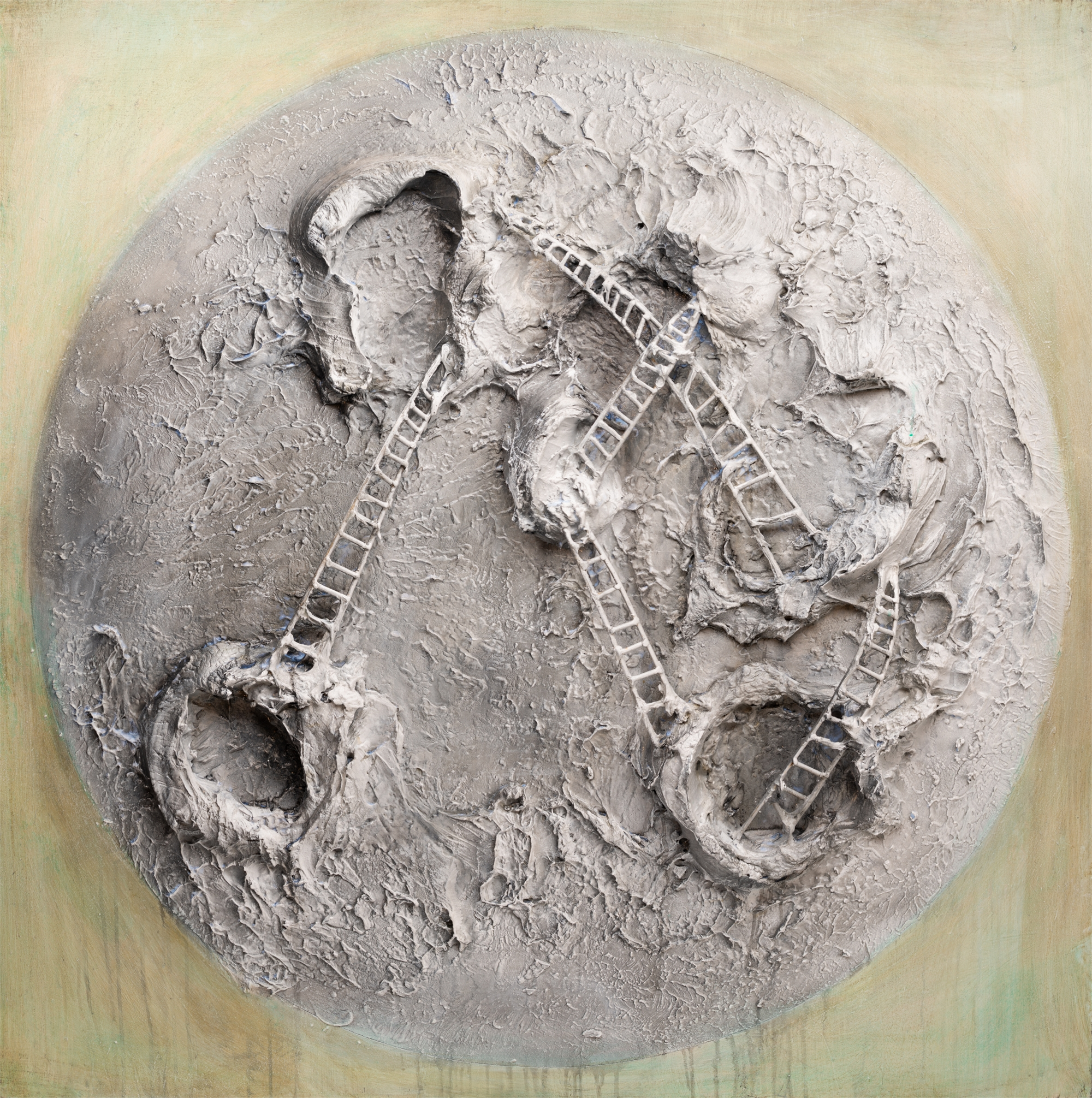MOON AND LADDERS MS-60x60-2019-317 by JUSTIN GAFFREY