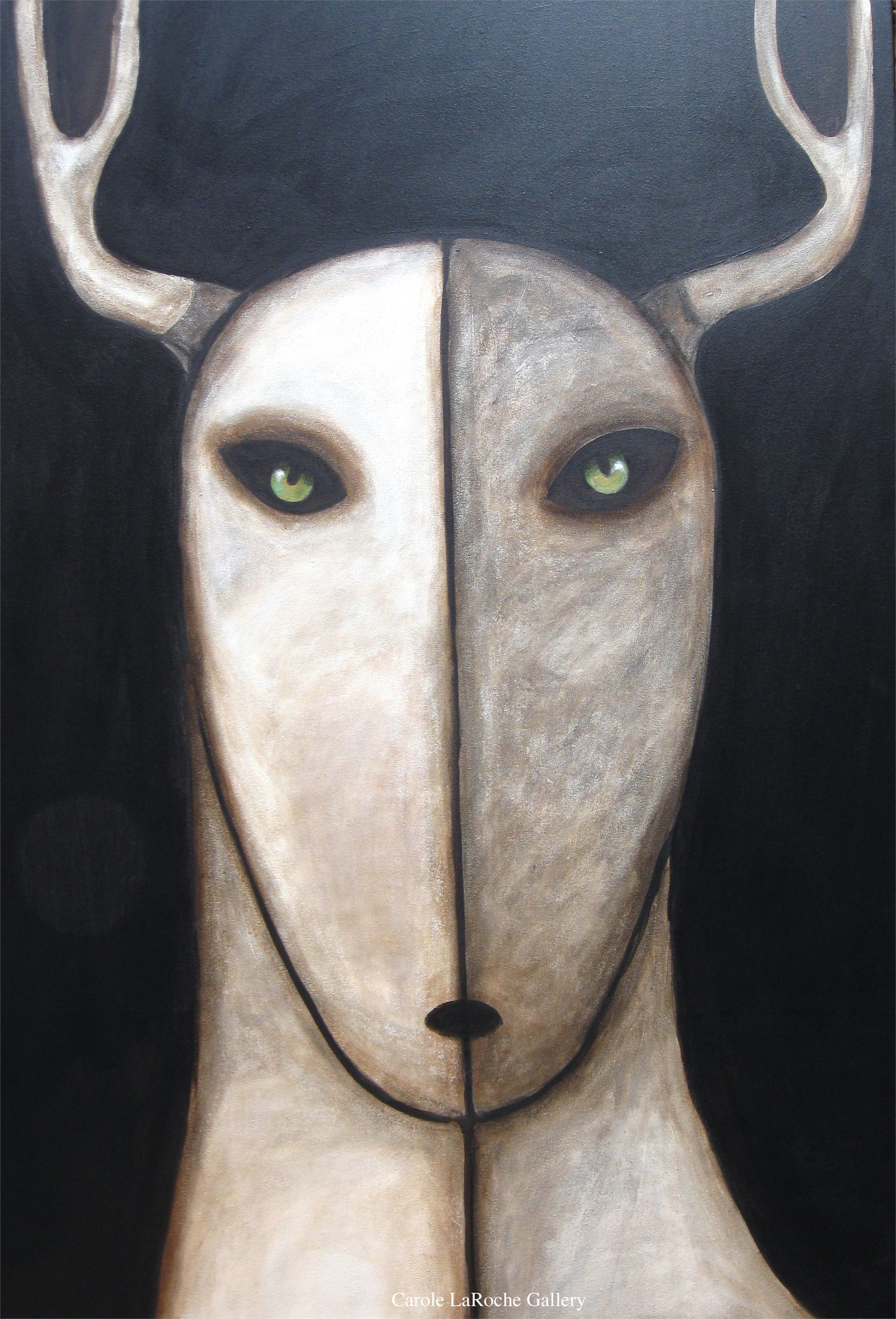 "NIGHT SKY/WHITE STAG - limited edition giclee on canvas 60""x40"" $3500 by Carole LaRoche"