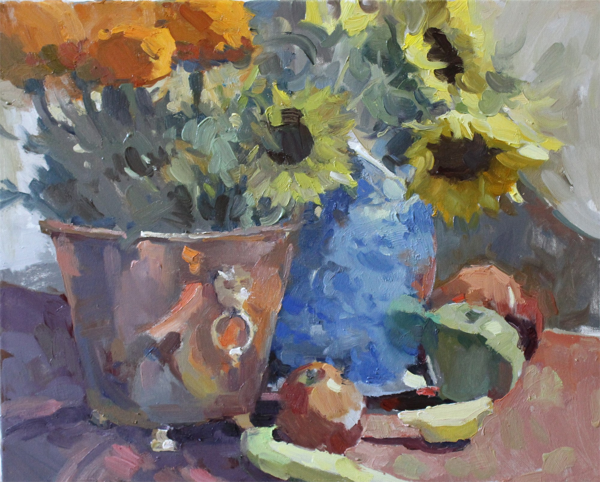 Marigolds, Sunflowers, & Fruit by Brent Jensen