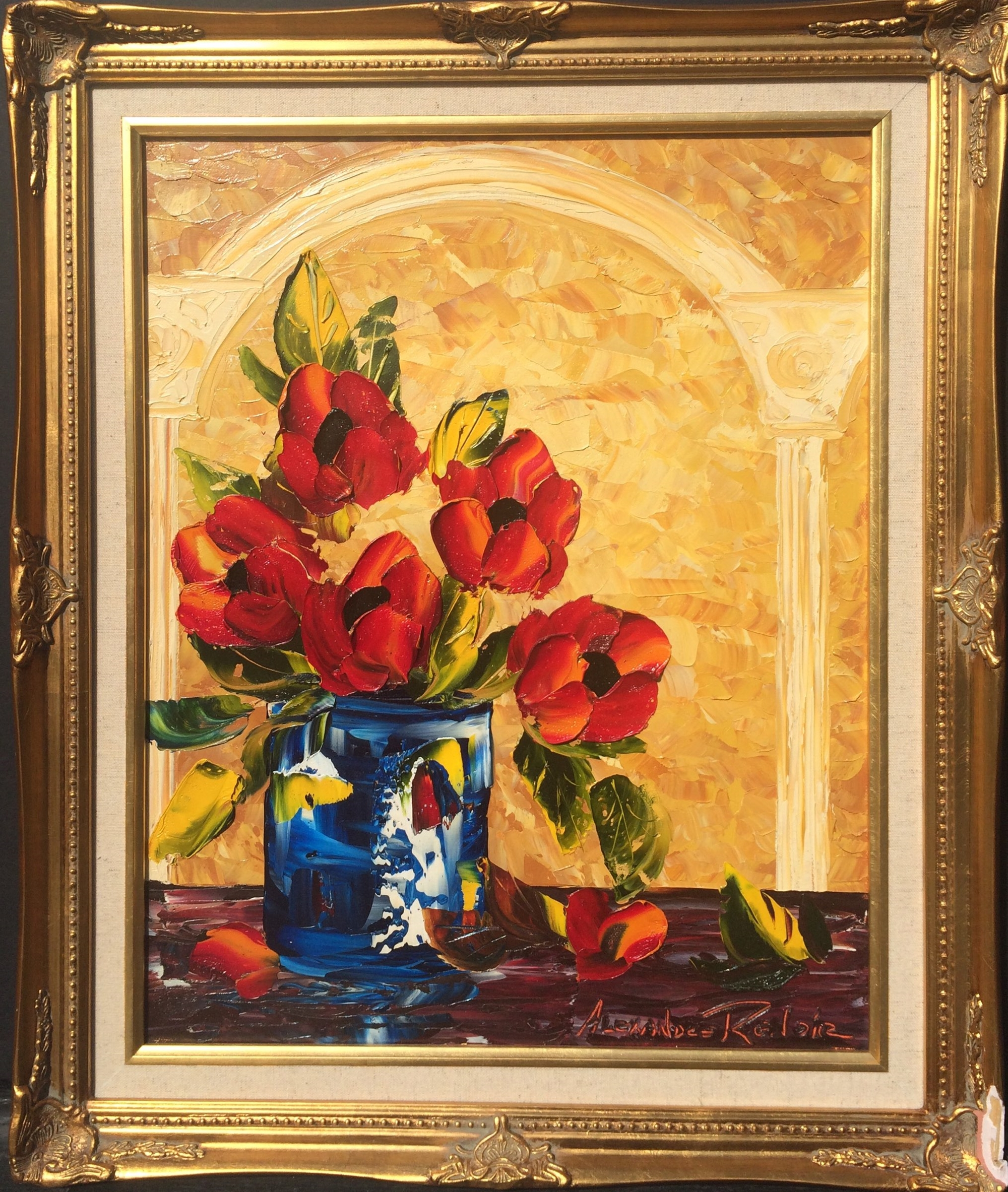 Blue Vase with Roses by Alexandre Renoir