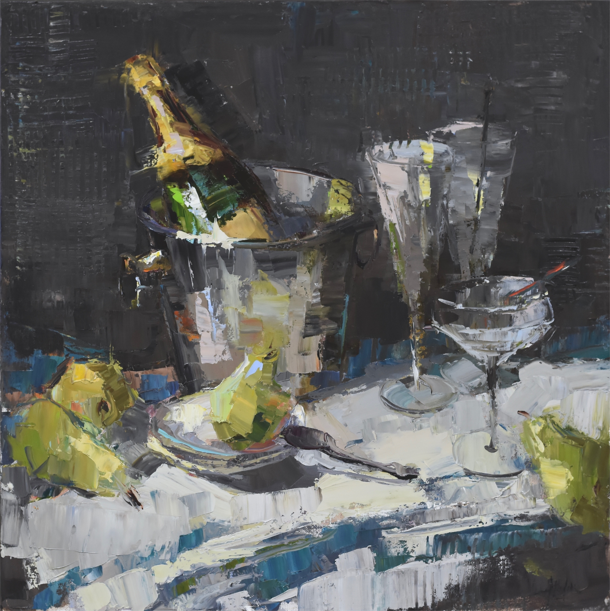 Champagne and Pears by Barbara Flowers